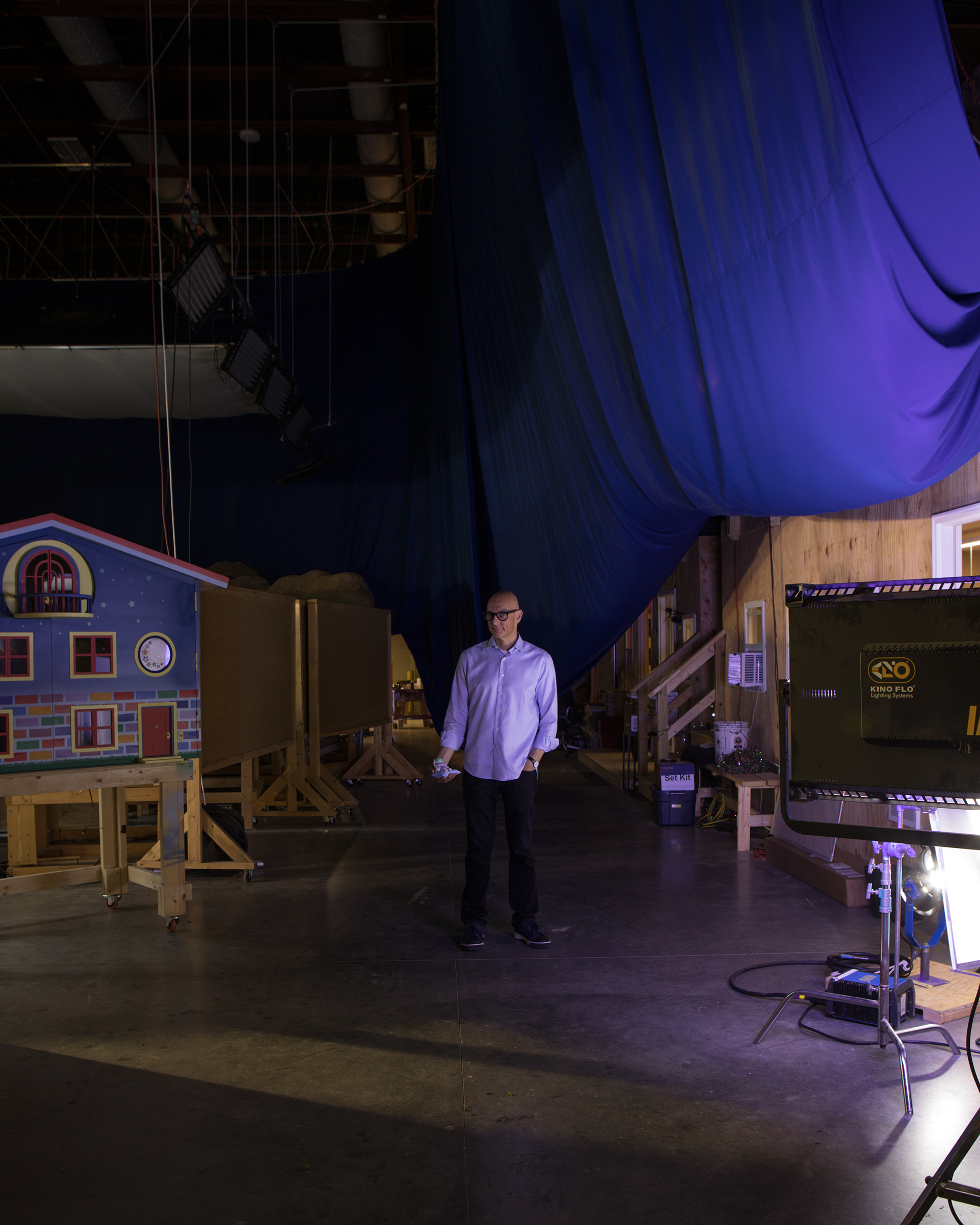Teletubbies co-creator Andrew Davenport behind the scenes on his new project 'Moon and Me', which will premiere later this year. Photographed on location at Pinewood Atlanta Studios.