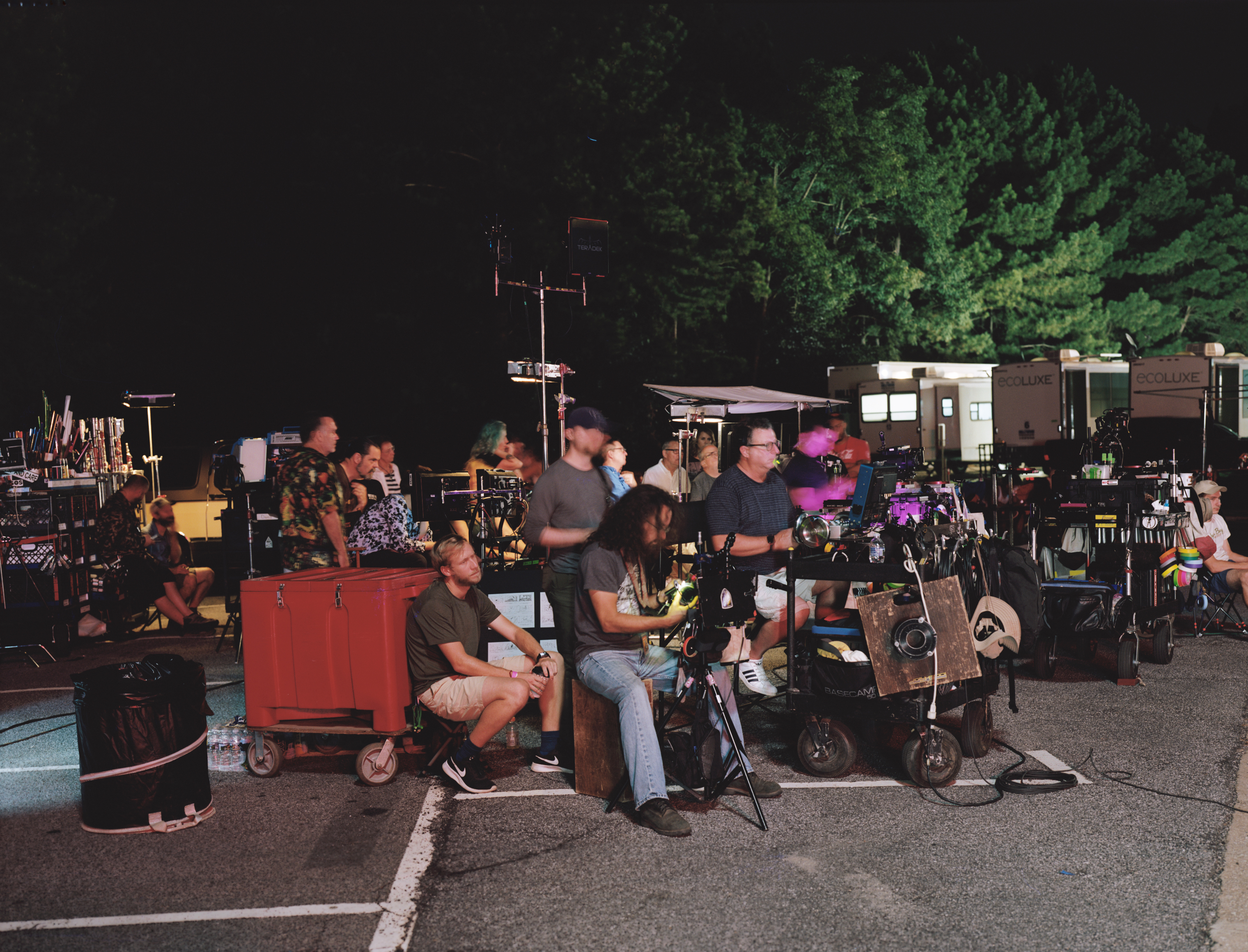 The crew prepares to film a scene on the set of Netflix's 'Stranger Things' season 3 on location in Georgia.