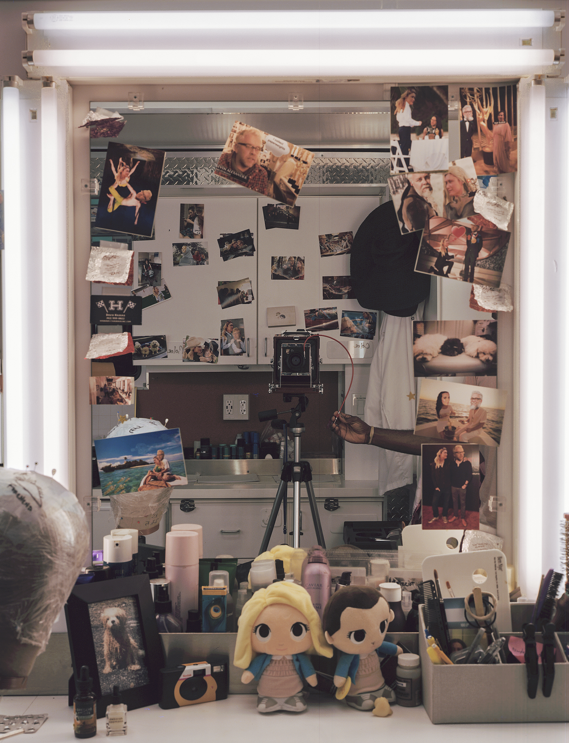 Inside the hair and makeup trailer on the set of 'Stranger Things' in Georgia.