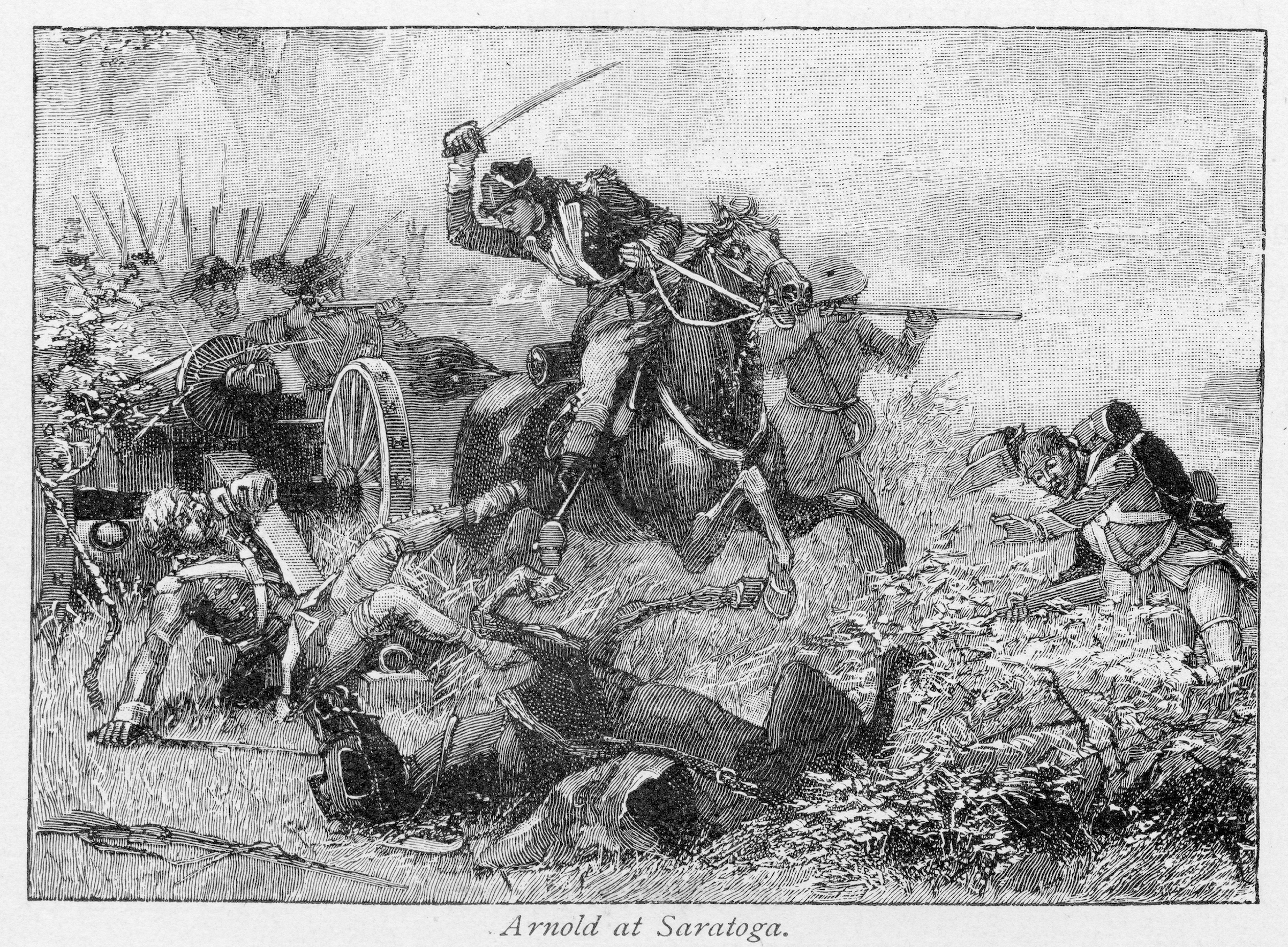 Illustration showing Major General Benedict Arnold (1741 - 1801) rallying the American troops and performing heroically during the Battle of Saratoga, during the American Revolutionary War, Oct. 7, 1777. Published in Shinn's History of the American People, 1899.