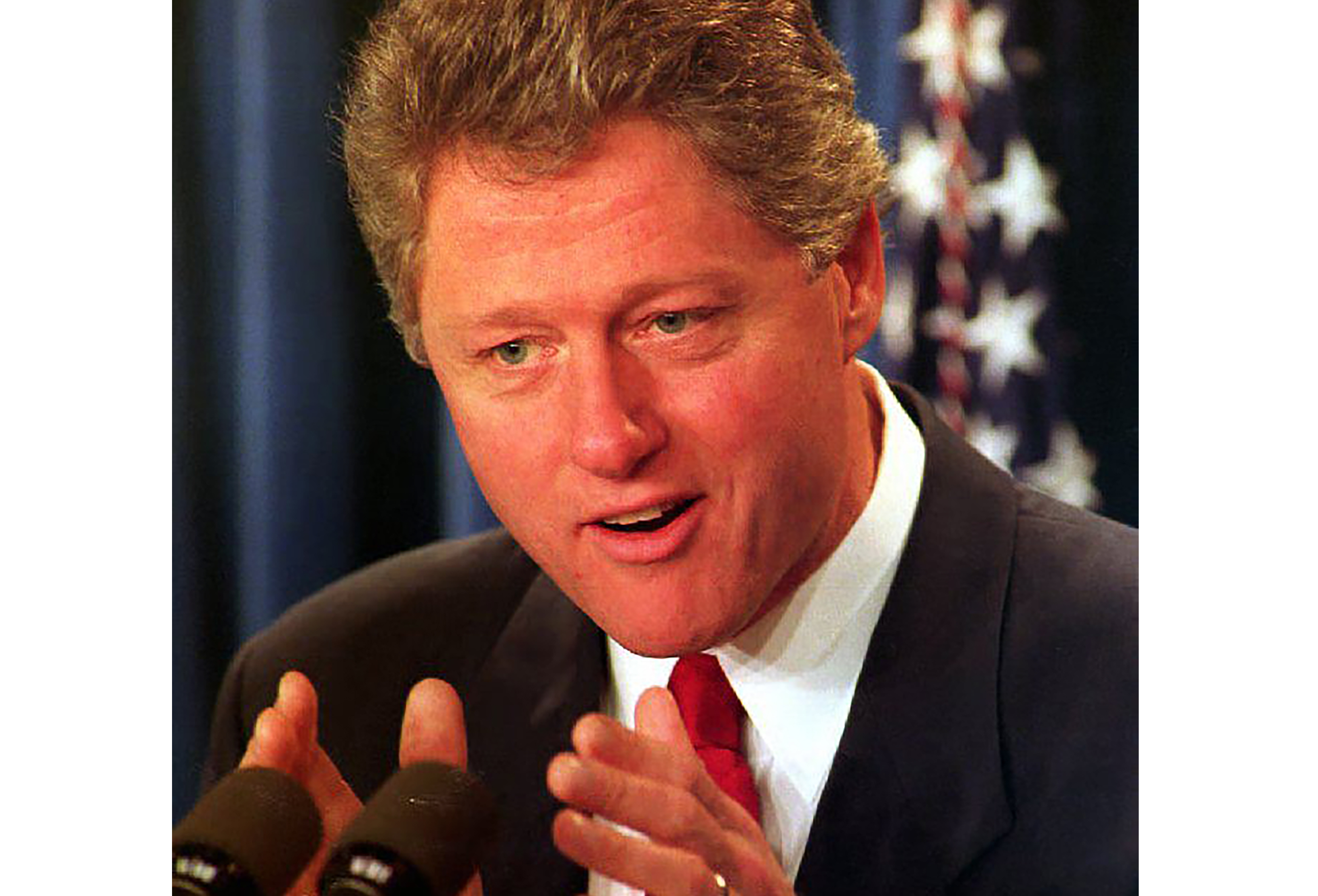 U.S. President Bill Clinton addresses the nation about his decision to lift a 50-year ban on homosexuals in the military on January 29, 1993.