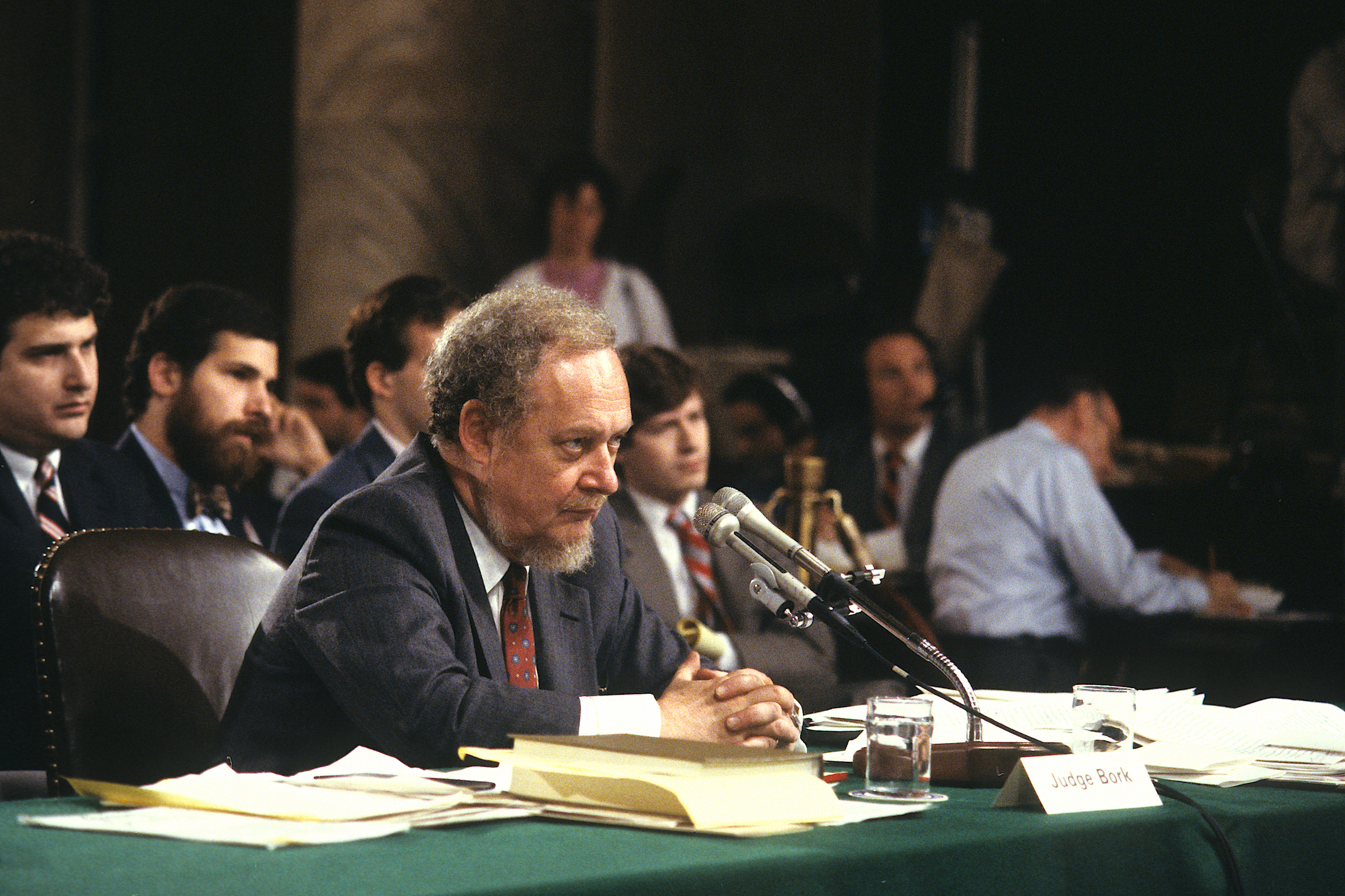 American jurist Judge Robert Bork (1927 - 2012) testifies before the Senate Judiciary Committee on the final day of his Supreme Court confirmation hearing, Washington D.C., Sept. 20, 1987.