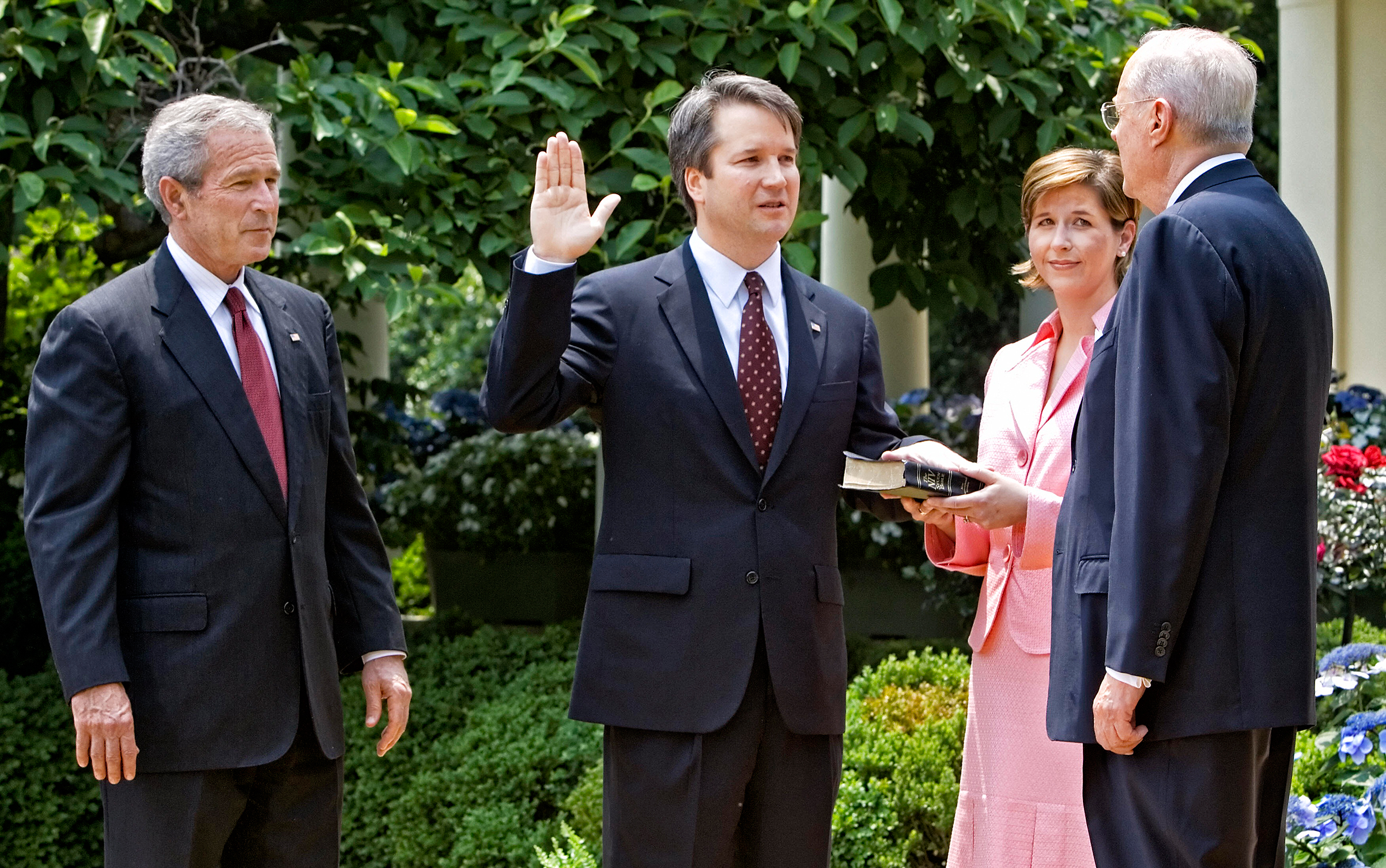 Kavanaugh is sworn in by Justice Kennedy in 2006 after being nominated by President George W. Bush as a judge on the U.S. Court of Appeals for D.C.