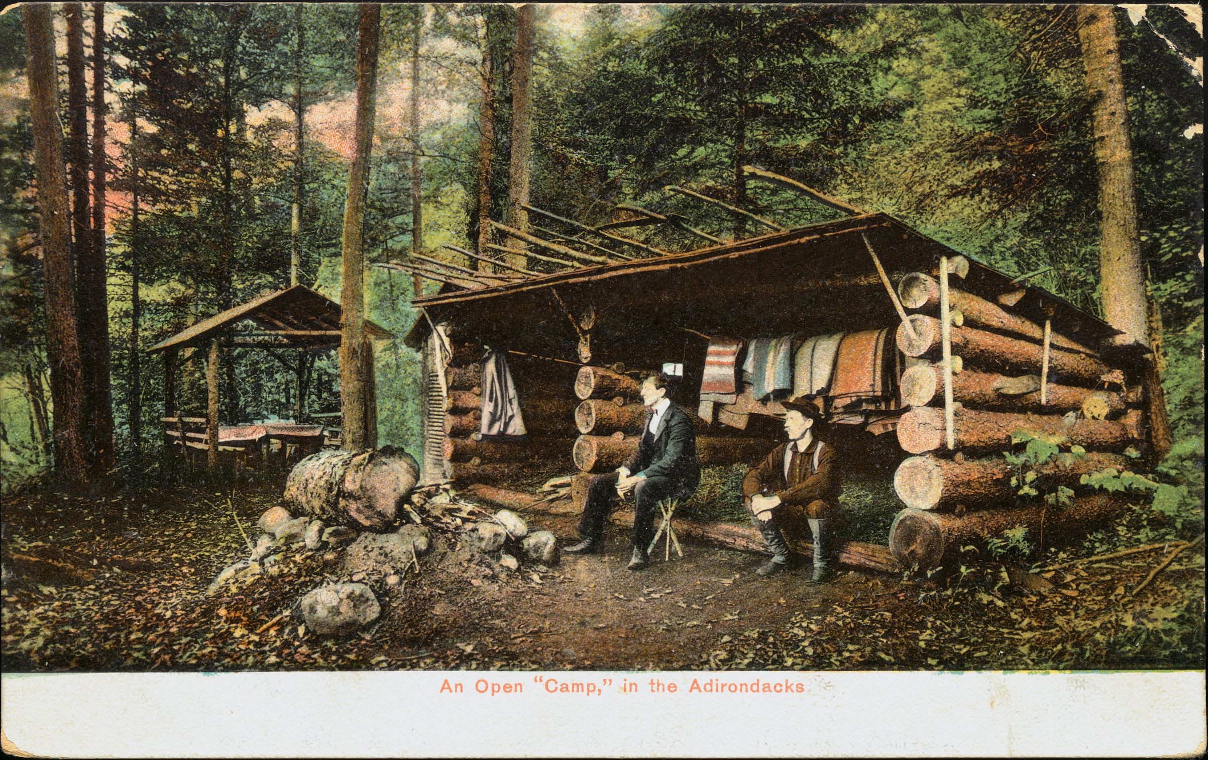 A turn-of-the-century postcard shows an  open 'camp' in the Adirondacks