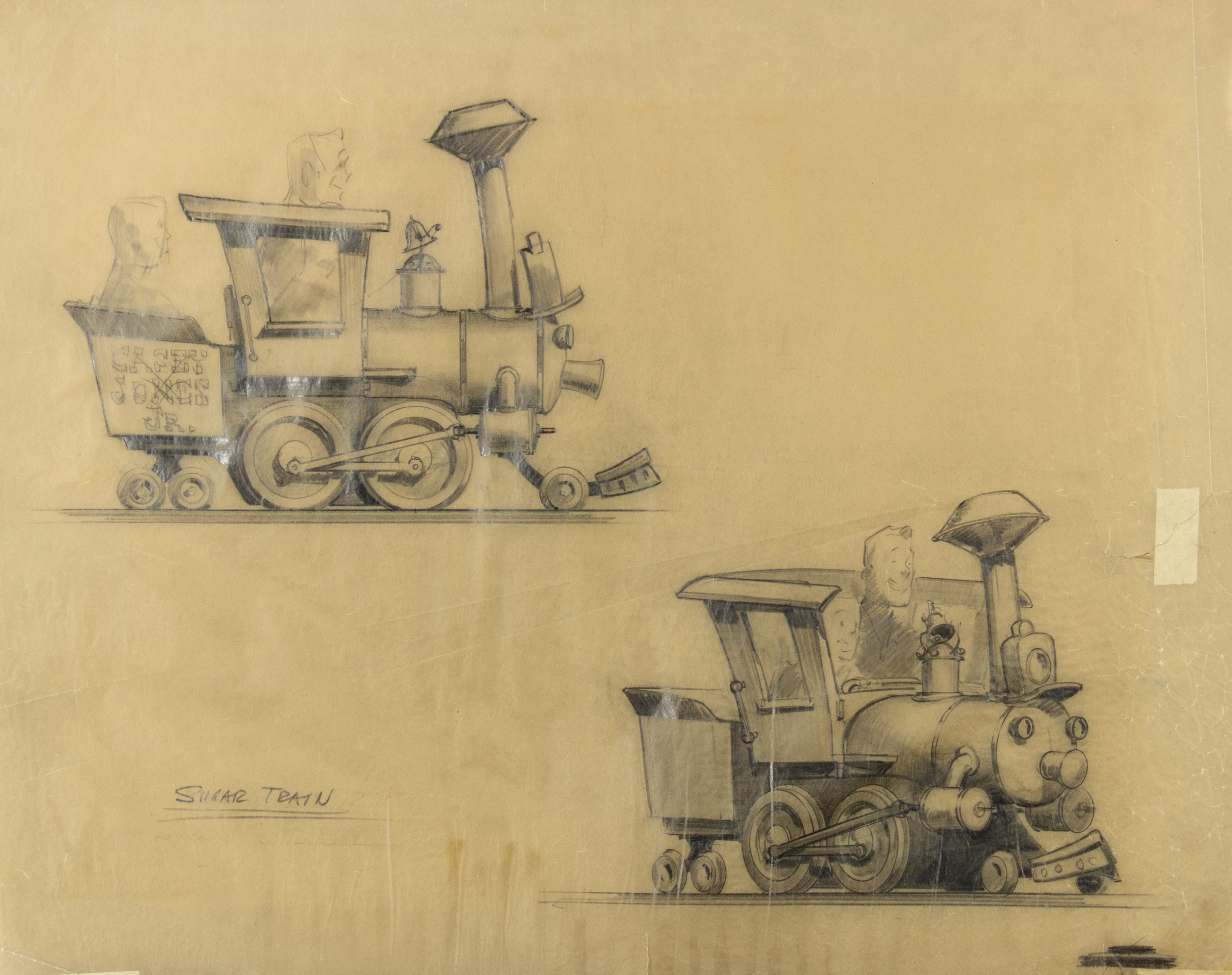 Casey Jones Sugar Train concept drawing, by Imagineer Bruce Bushman, 1950s