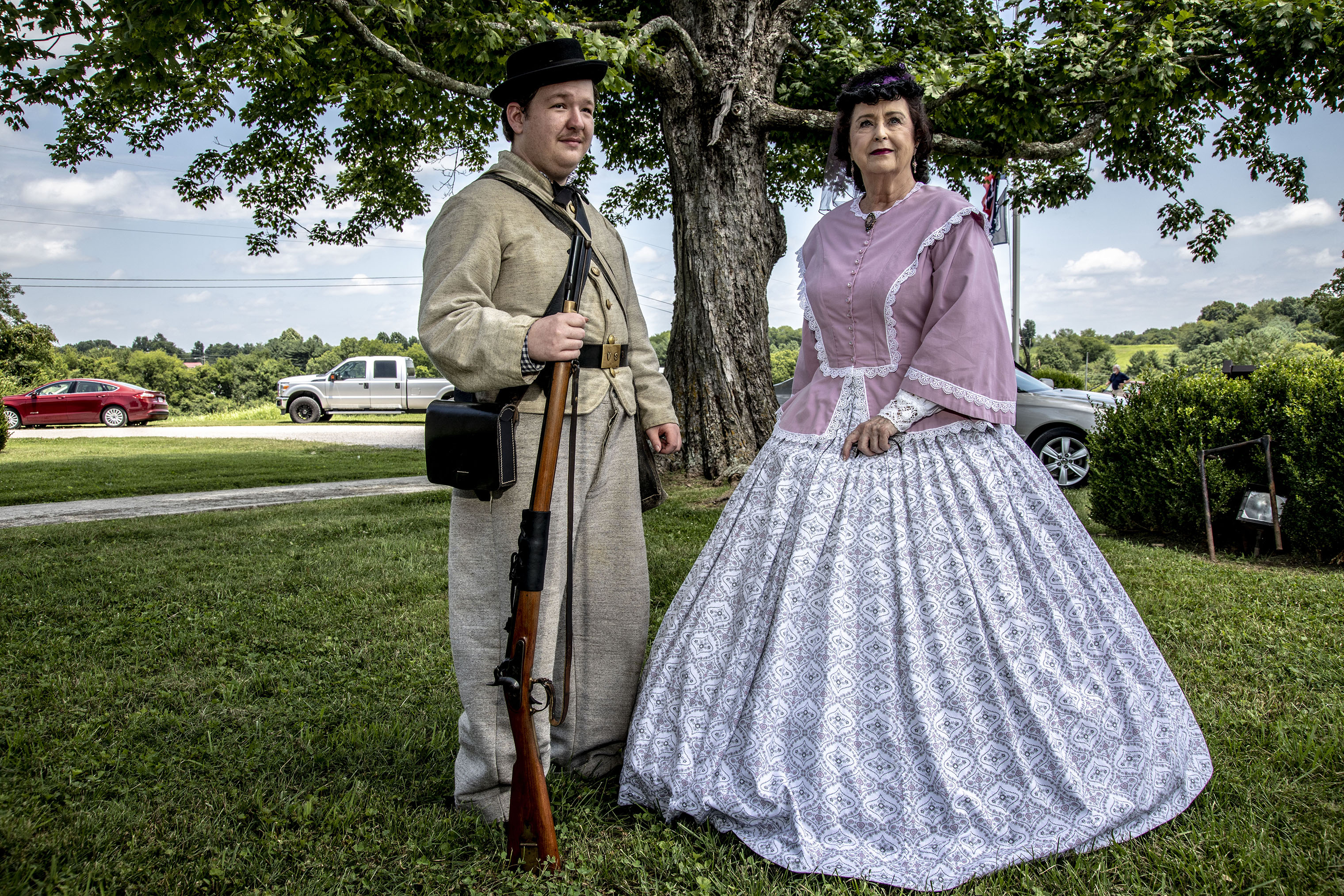 Reenactors of confederate soldiers and wives attend the dedication of the National Confederate Museum in Elm Springs in Columbia, Tenn. on July 20.