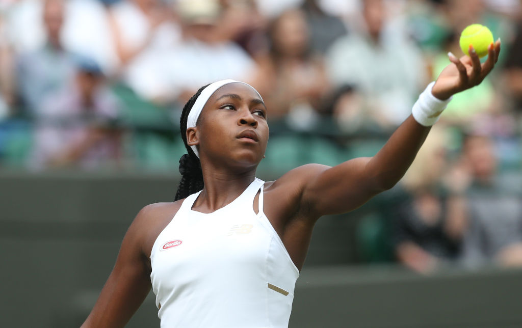 Cori Gauff (USA) during her match against Venus Williams (USA) in their Ladies' Singles First Round match during Day 1 of The Championships - Wimbledon 2019 at All England Lawn Tennis and Croquet Club on July 1, 2019 in London, England.