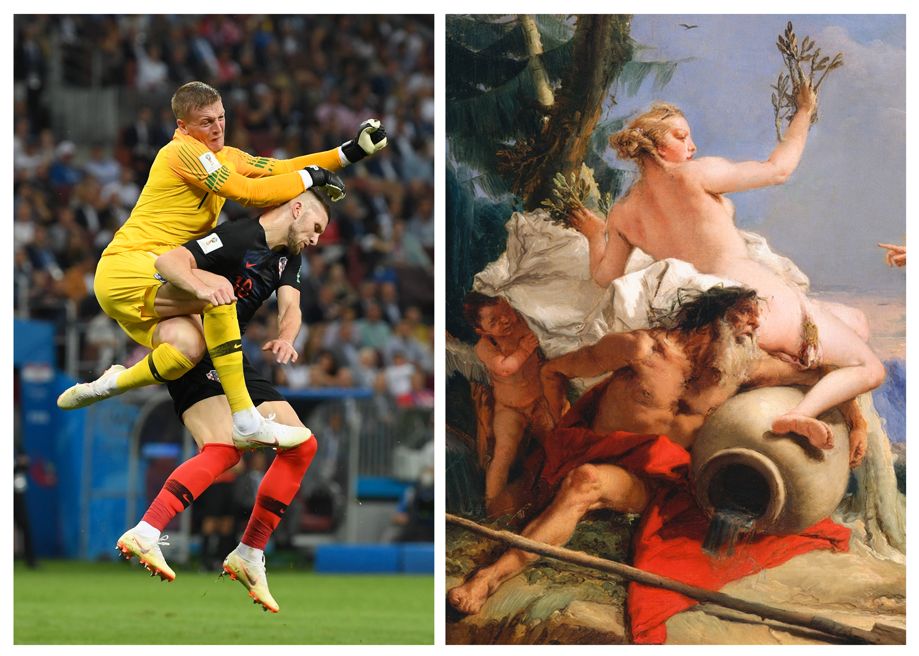 Jordan Pickford of England collides with Ante Rebic of Croatia during the Semi Final game on July 11, 2018.                 ; Apollo Pursuing Daphne by Giovanni Battista Tiepolo
