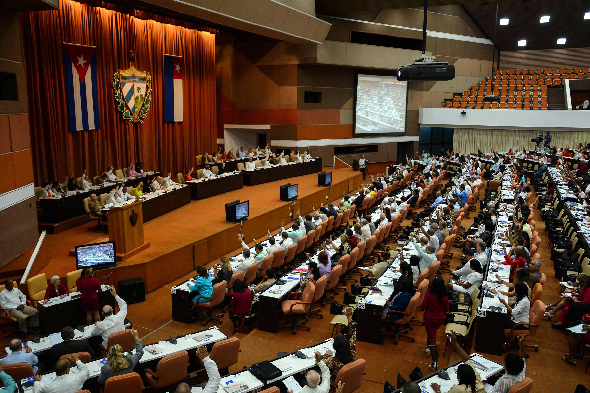 General view of the plenary of the first regular session of the IX Legislature of the National Assembly, in Havana, Cuba, 21 July 2018. The National Assembly of Cuba (Unicameral Parliament) began today three days of debates on the project to update the current Constitution (1976), in a plenary session that began with the appointment of the new Council of Ministers of President Miguel DÌaz-Canel.