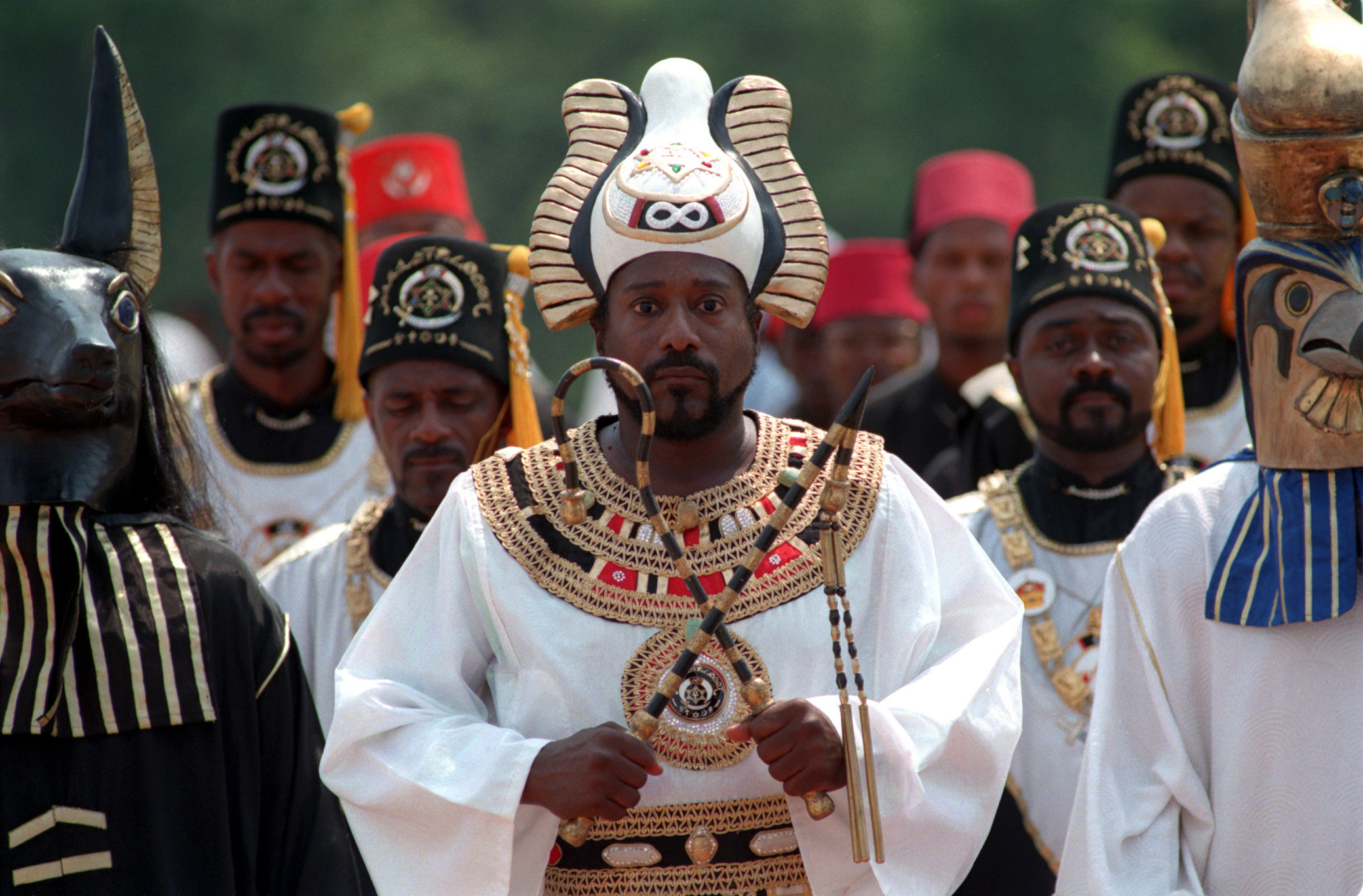 United Nations of Nuwaubians founder, Dr. 'Dwight' Malachi Z. York (cq), center, participates in the 'Procession of Osiris' at the farm in Putnam County near Eatonton during the Founders Day Festival on June 26, 1998.