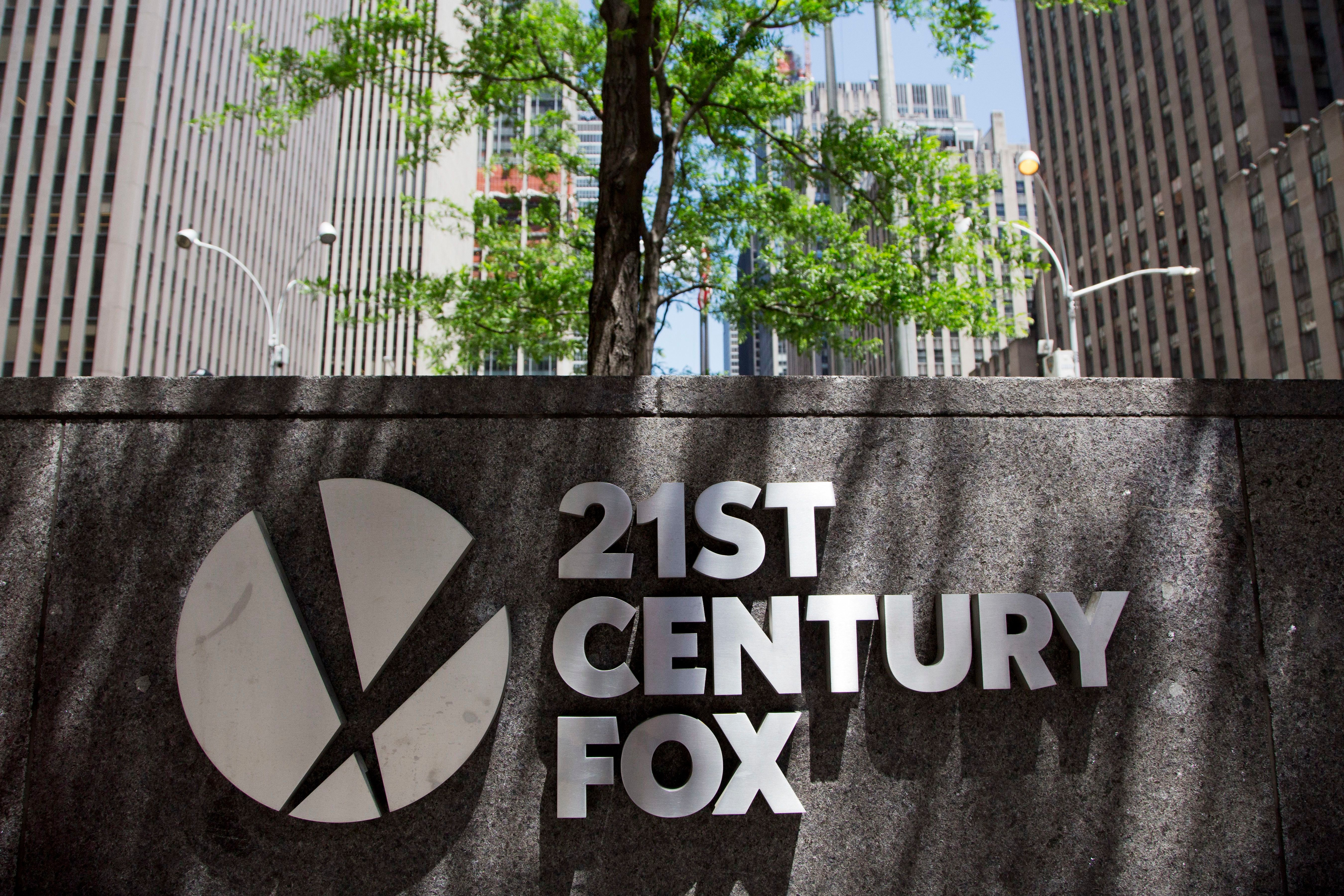The 21st Century Fox logo is shown outside its New York office on June 14, 2018.
