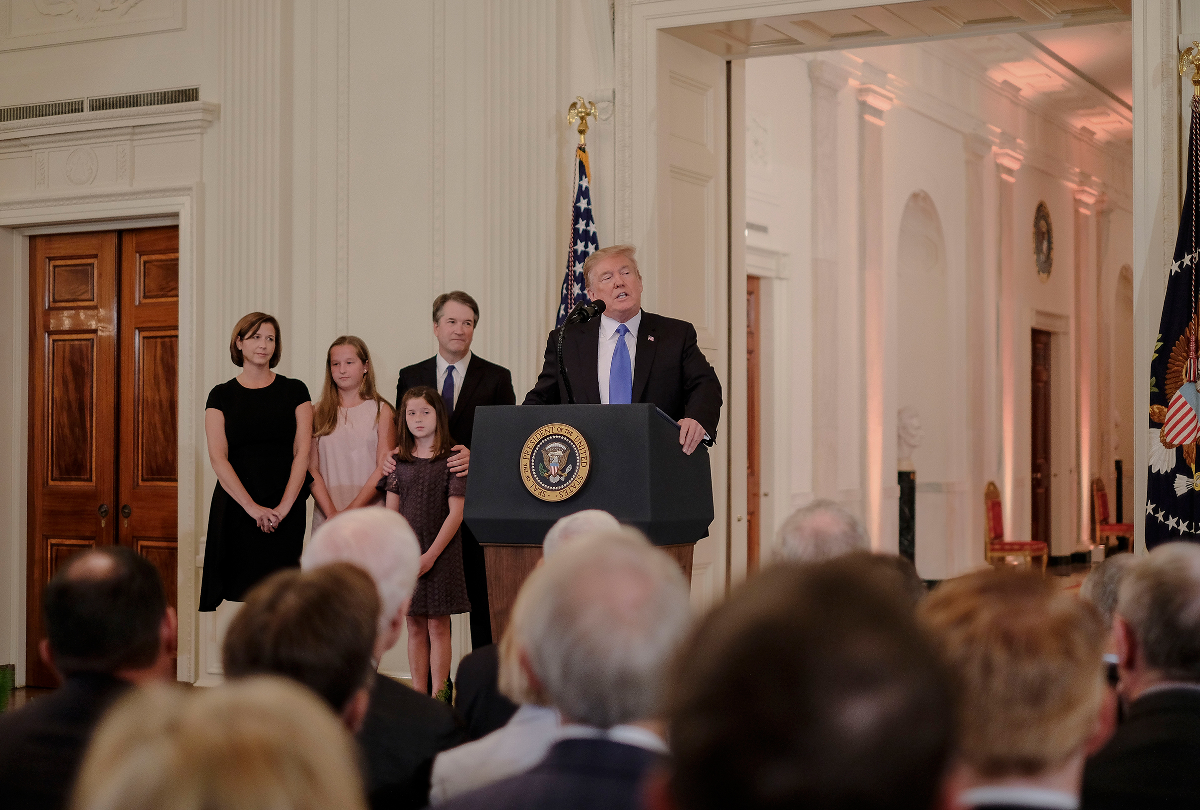President Trump nominates Judge Brett Kavanaugh to the Supreme Court during an event in the East Room of the White House in Washington on July 9, 2018.