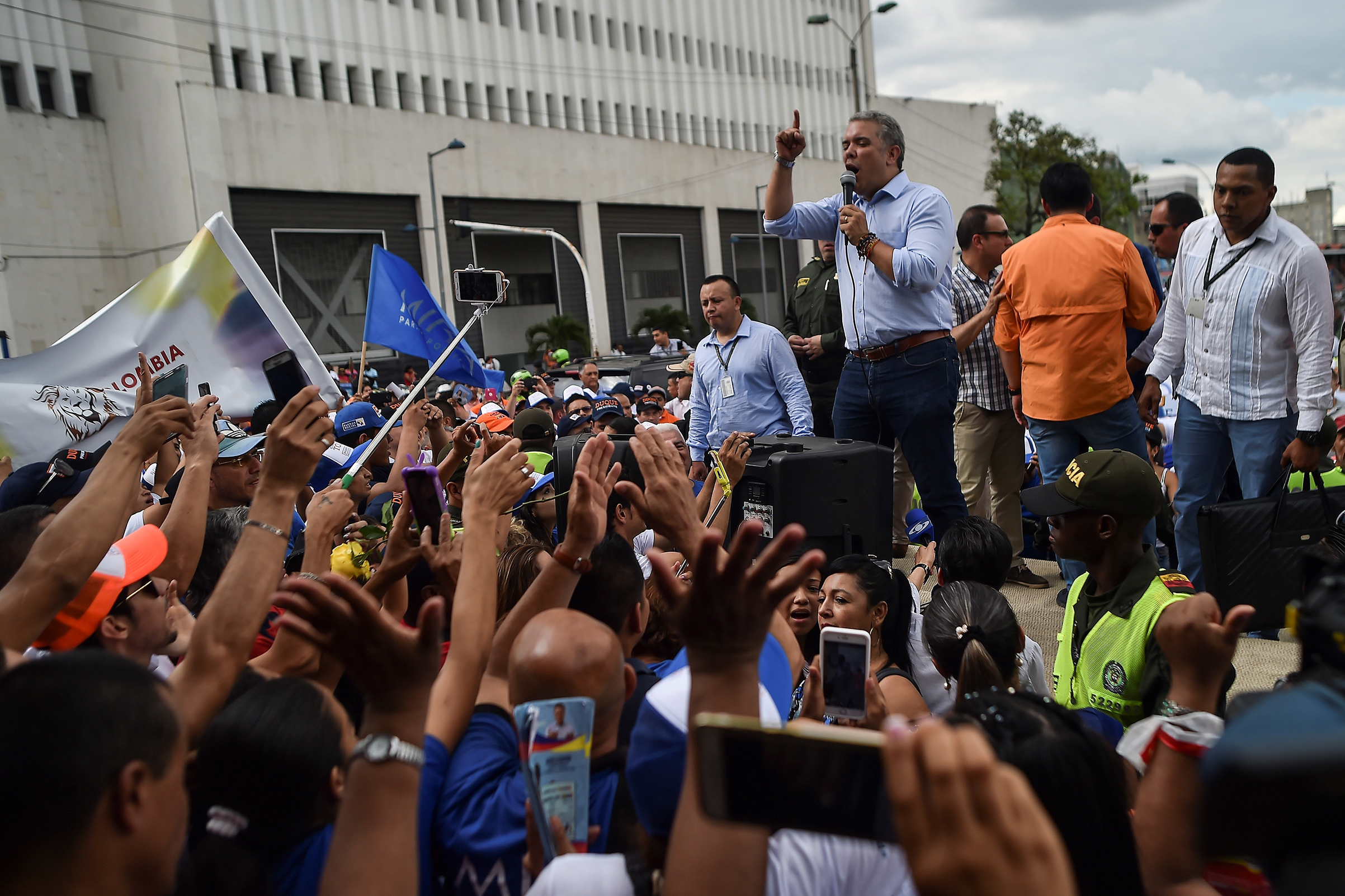 Duque speaks to supporters on the campaign trail in Cali, Colombia, on June 8.