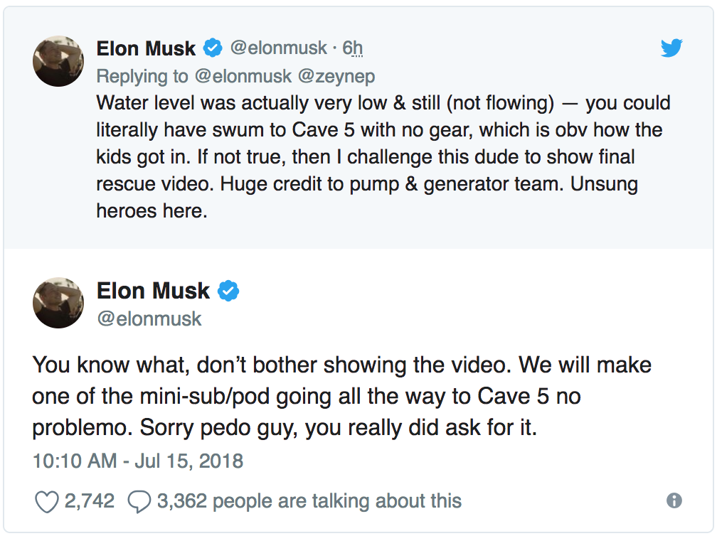 Elon Musks Calls British Cave Diver A Pedo On Twitter Time