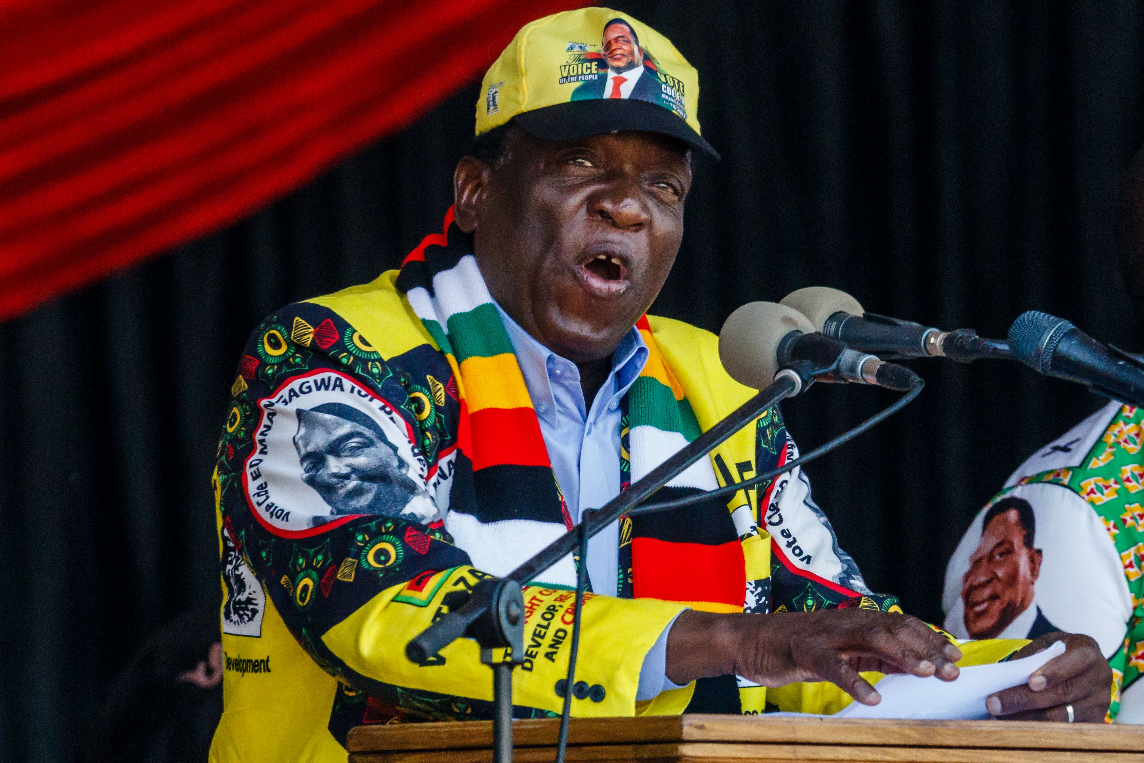 July 28, 2018 - Emmerson Mnangagwa, Zimbabwe's President and presidential candidate for the ZANU PF party, speaks during his last campaign rally at the National Sports Stadium in Harare.