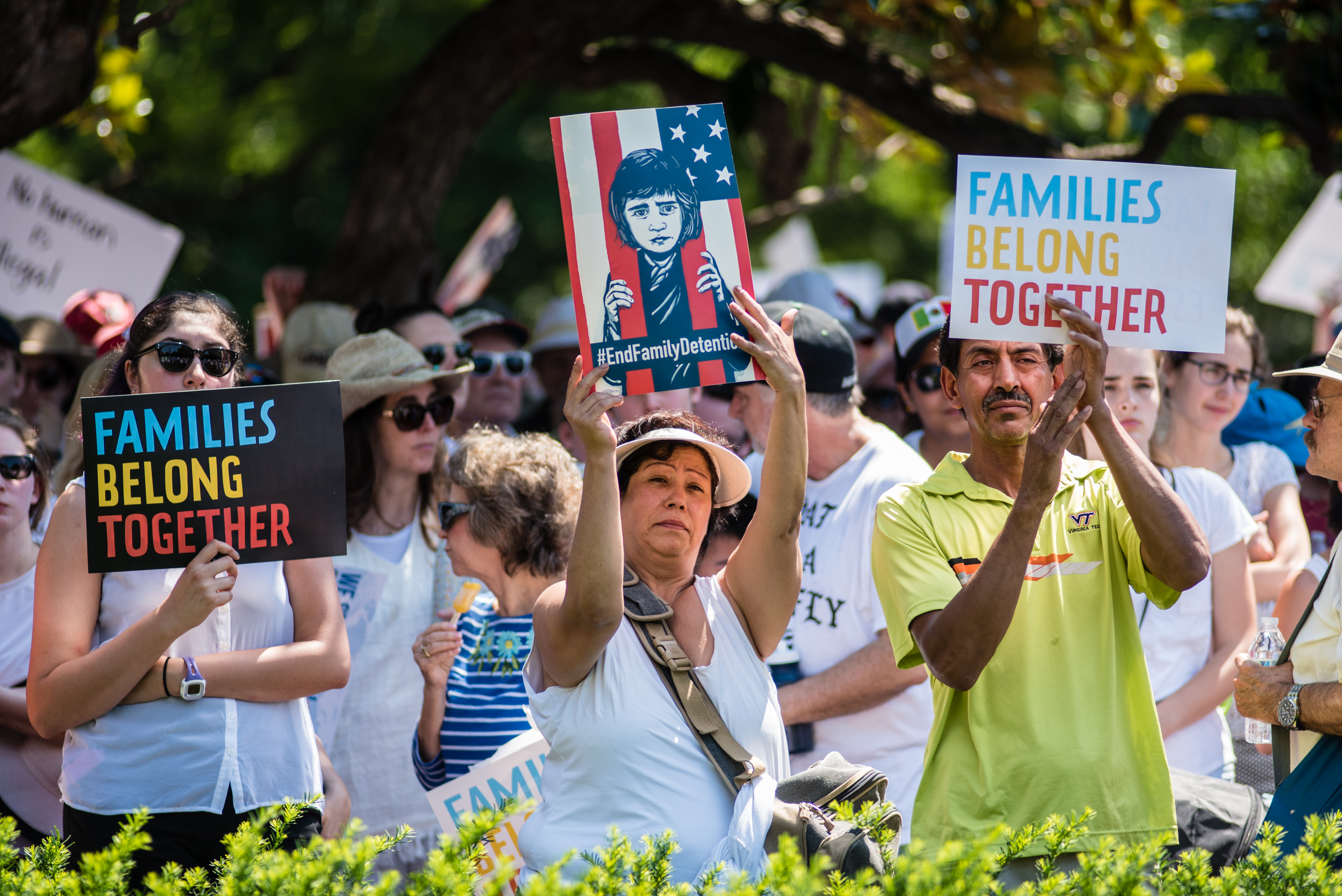 Protestors of the Trump Administration's immigration policy participate in a rally at Lafayette Square then march to the Justice Department. Billed as the Families Belong Together Rally and March, the action in the District is one of a reported 700 events nationwide.
