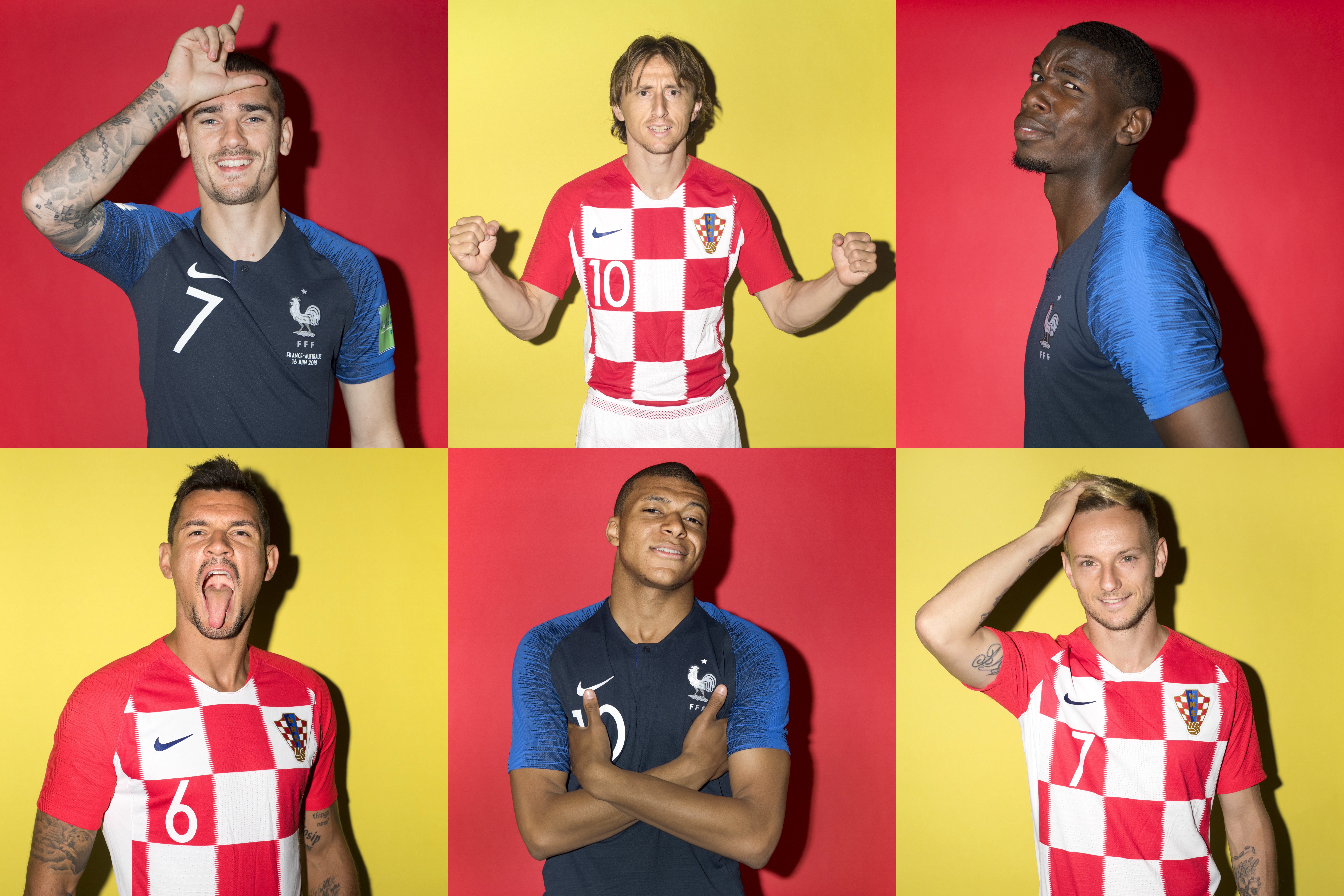 In this composite image a comparison has been made between the players France and Croatia.