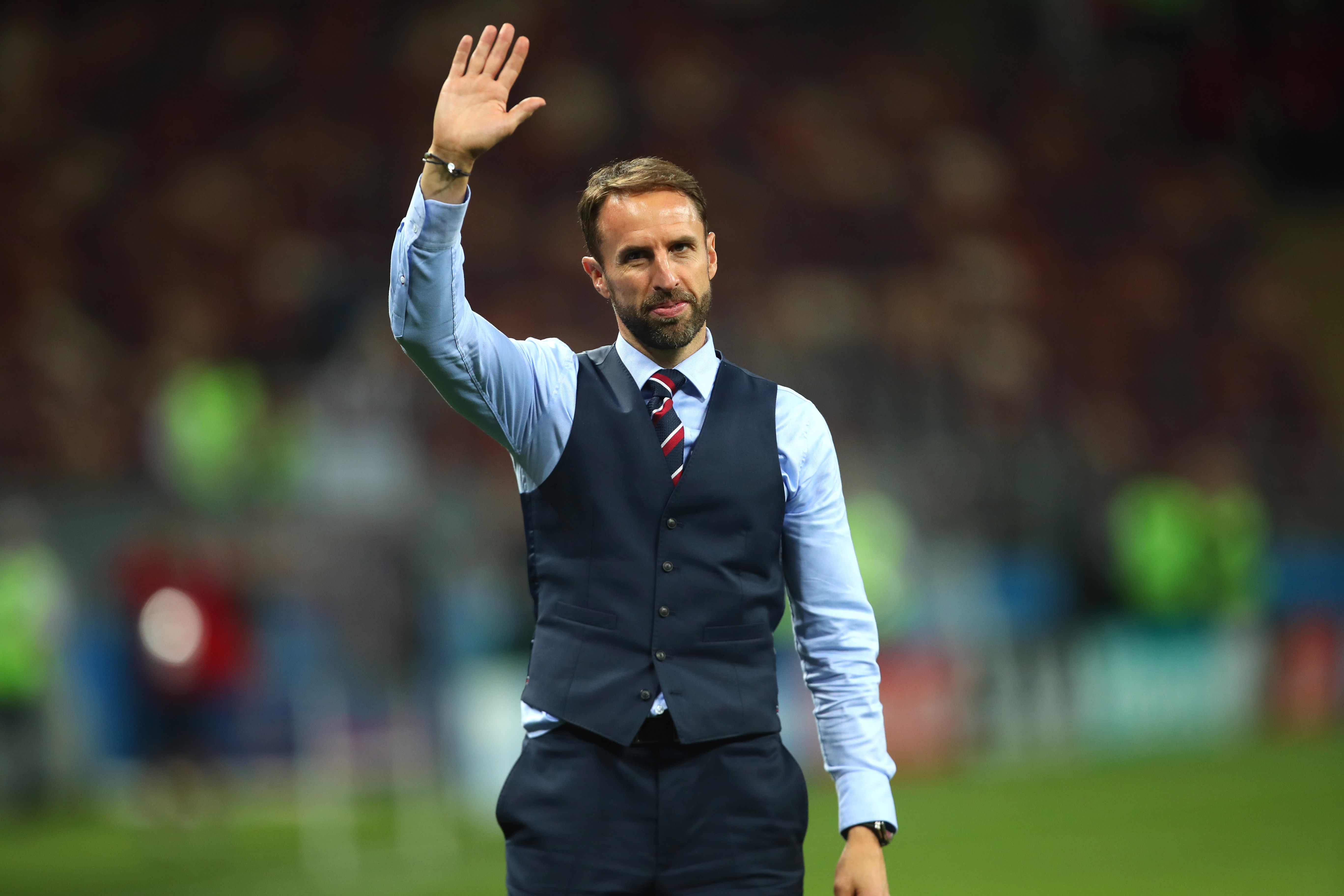 Gareth Southgate head coach / manager of England acknowledges the fans at the end of the 2018 FIFA World Cup Russia Semi Final match between Croatia and England at Luzhniki Stadium on July 11, 2018 in Moscow, Russia.