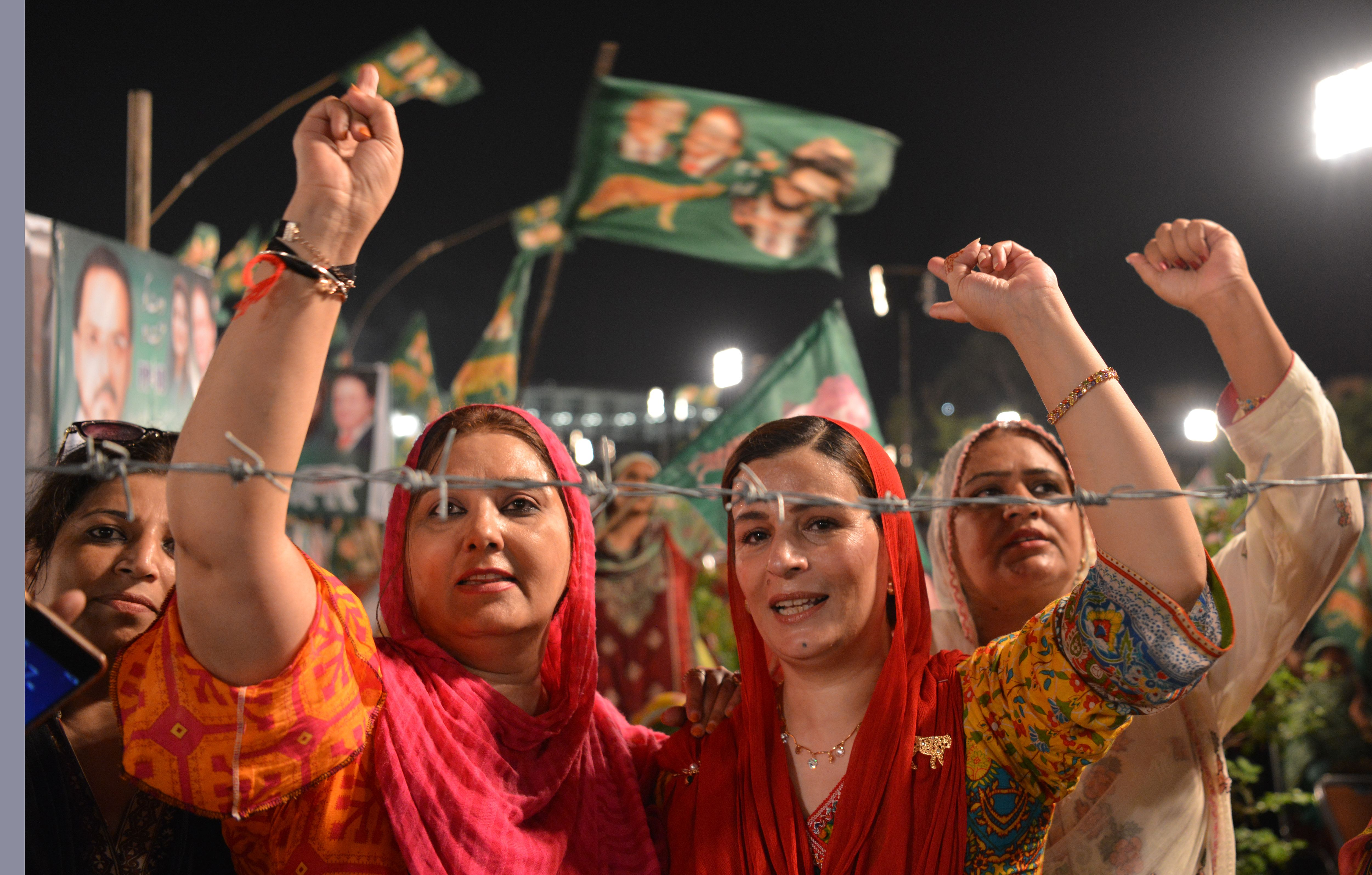 Supporters of Shahbaz Sharif, the younger brother of former Pakistani Prime Minister Nawaz Sharif and head of the Pakistan Muslim League-Nawaz (PML-N), at a campaign meeting ahead of the election in Rawalpindi on July 23, 2018.