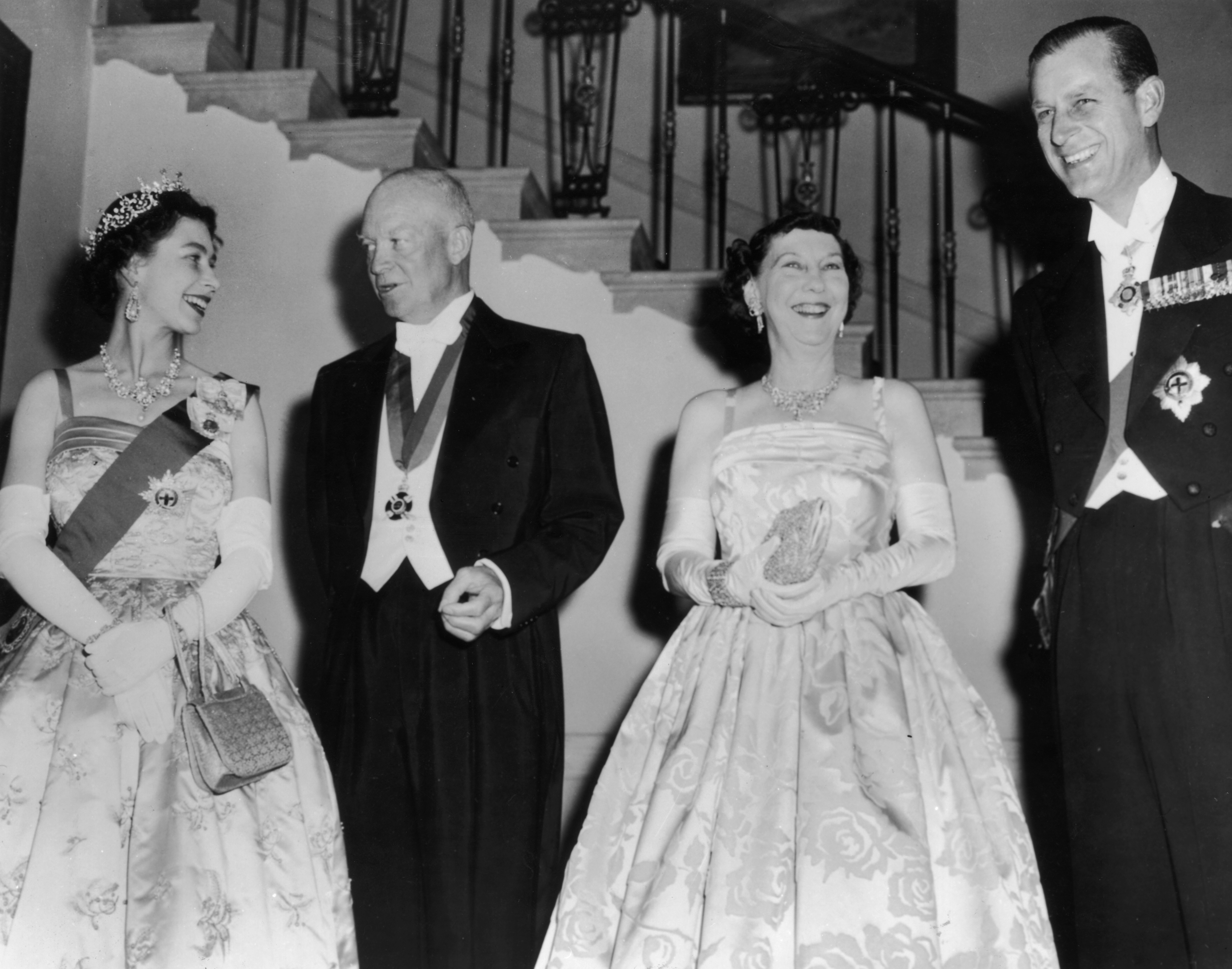 20th October 1957: Queen Elizabeth II, US president Dwight D Eisenhower (1890 - 1969) with his wife Mamie (1896 - 1979) and Prince Philip, Duke of Edinburgh at a White House State banquet.