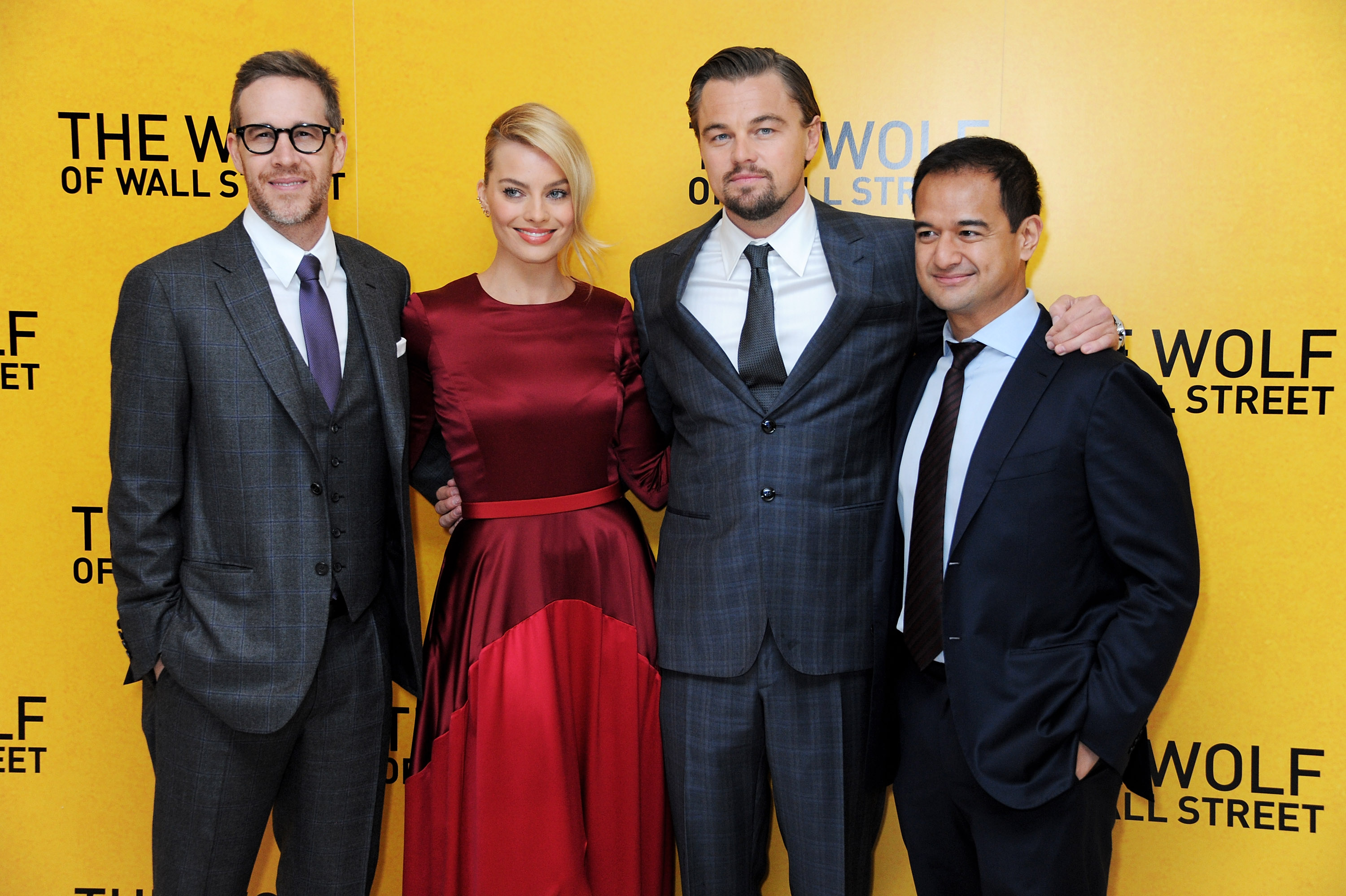 (R to L) Riza Aziz, Leonardo DiCaprio, Margot Robbie and producer Joey McFarland attend the U.K. Premiere of  The Wolf Of Wall Street  on Jan. 9, 2014 in London.