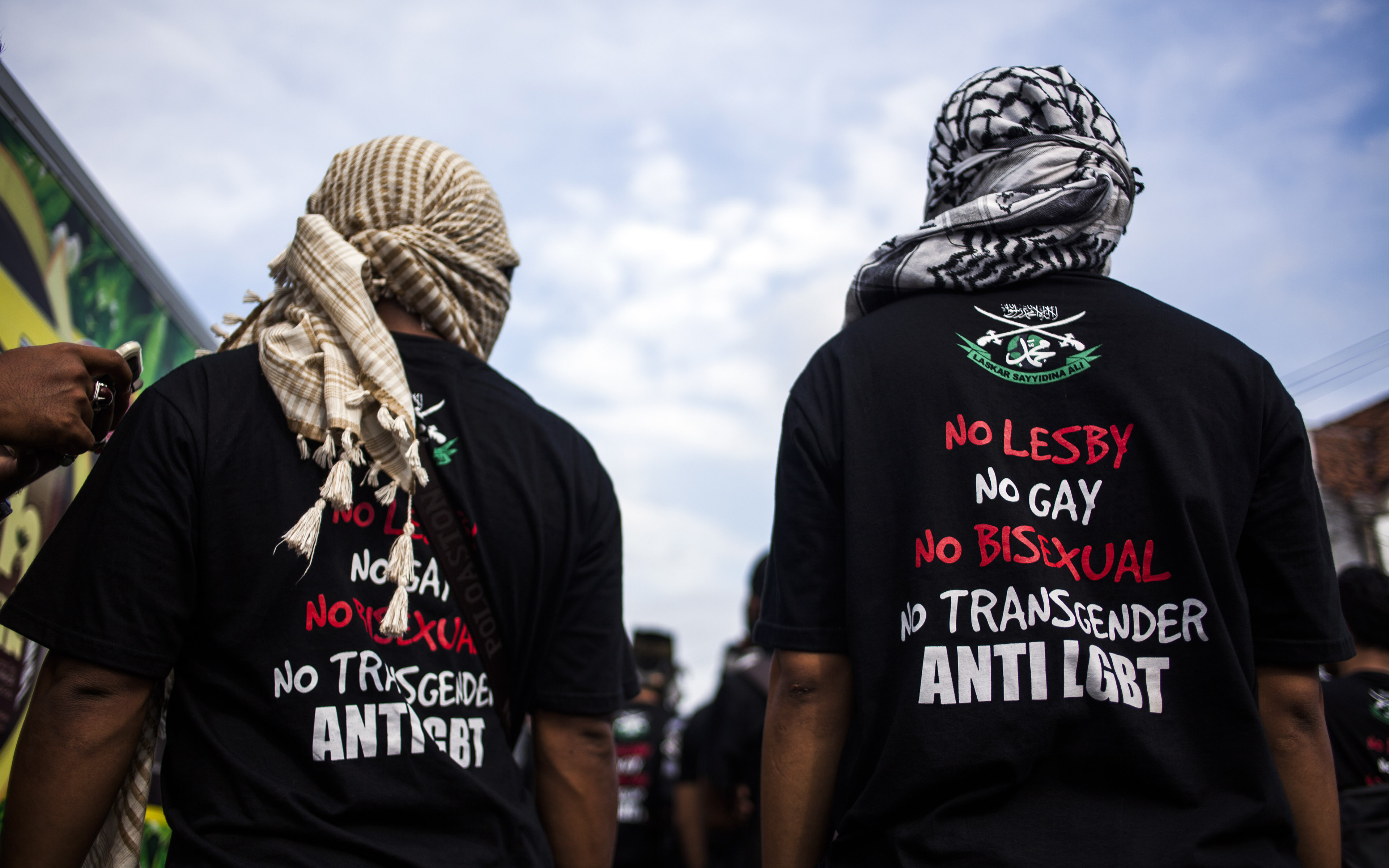 In this photo taken on February 23, 2016 shows anti-LGBT Muslim group marching to blockade pro-LGBT protesters in Yogyakarta, in Java island.