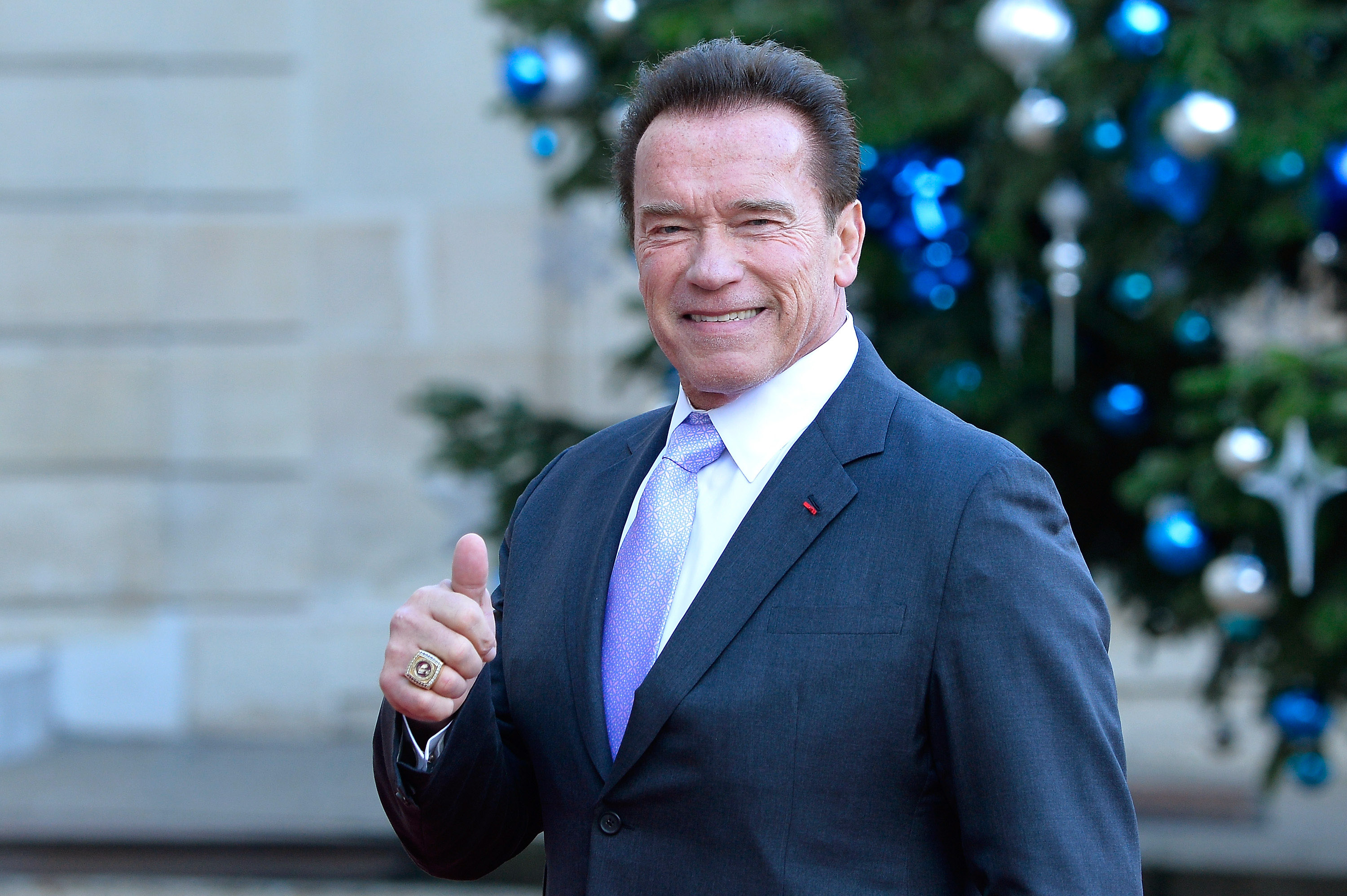 Arnold Schwarzenegger arrives for a meeting with French President Emmanuel Macron as he receives the One Planet Summit's international leaders at Elysee Palace in Paris, France on Dec. 12, 2017.