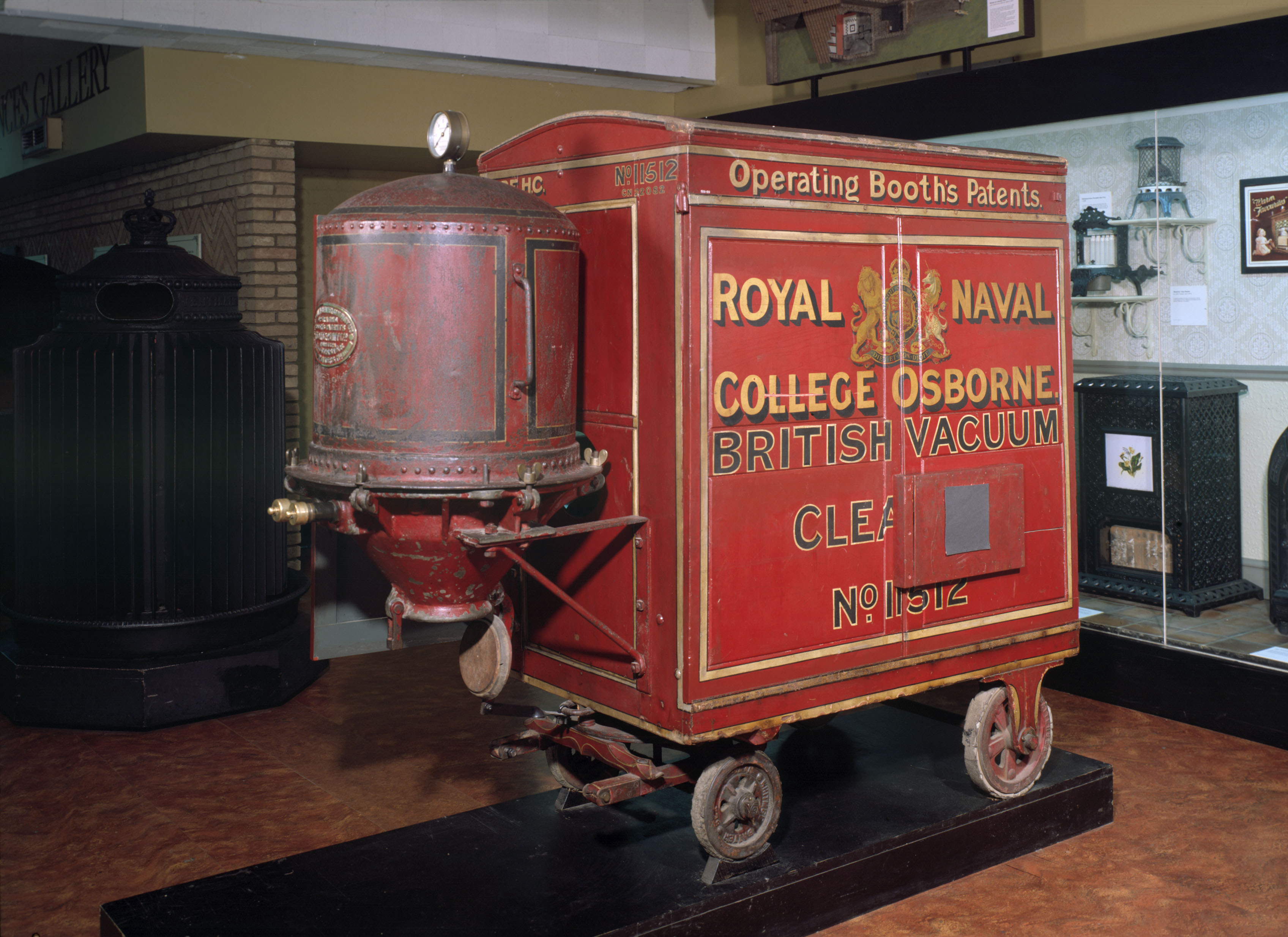 The invention of the vacuum cleaner is generally credited to Hubert Cecil Booth. He built his first machine in 1901 and this one is very similar. It was made for Osborne House, a training college for naval officers on the Isle of Wight.