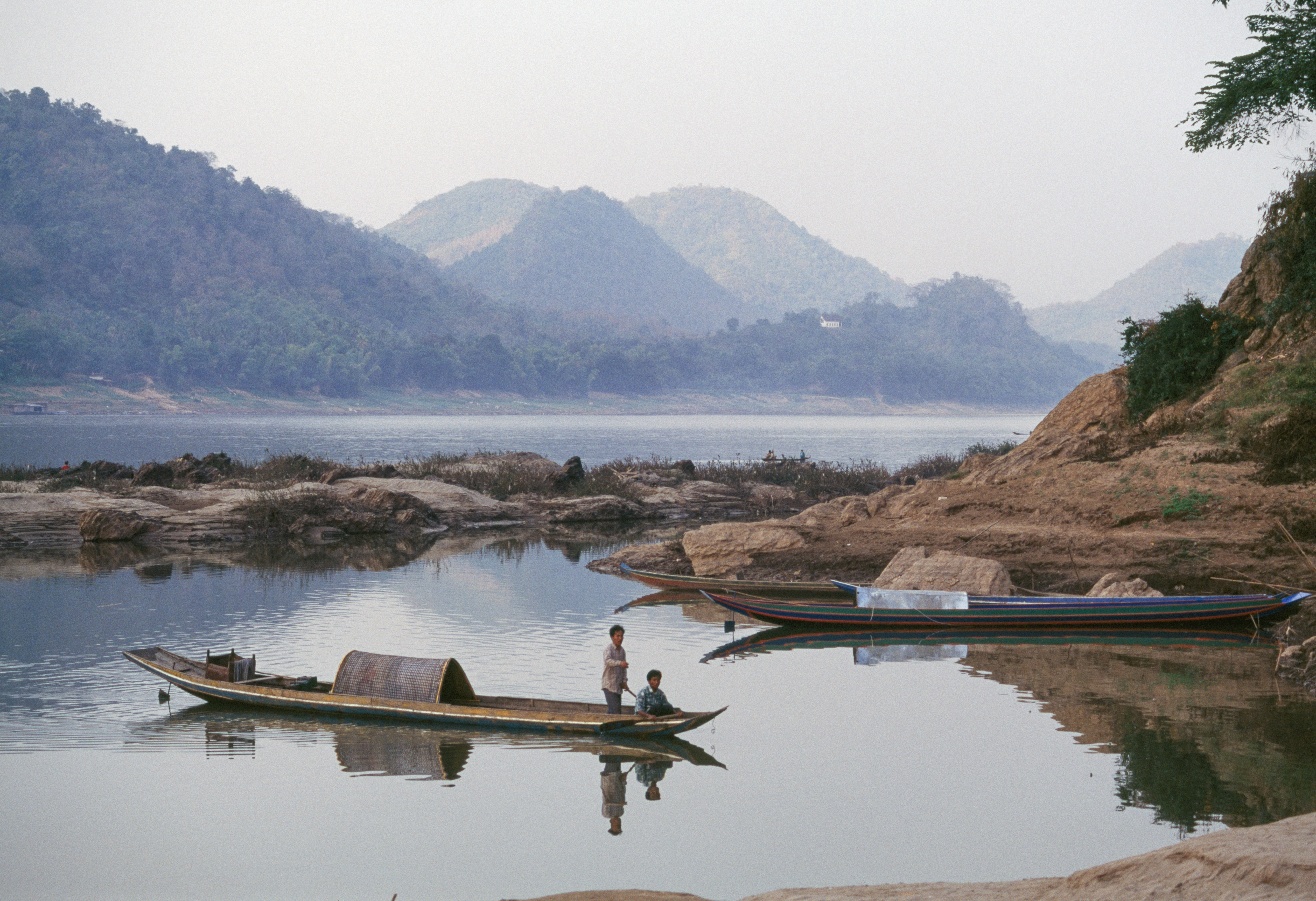Boat on the Mekong River, Laos.