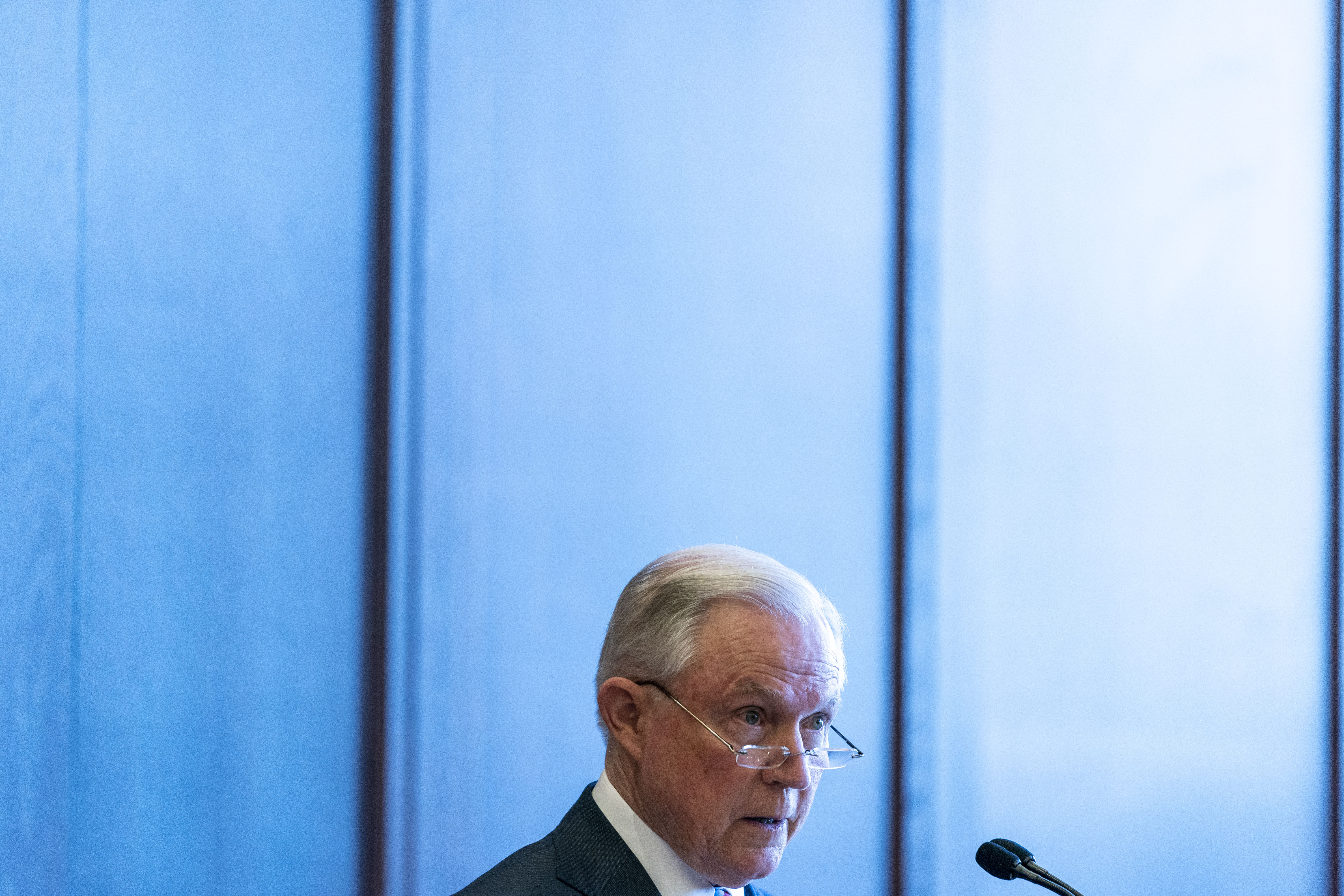 U.S. Attorney General Jeff Sessions delivers remarks on immigration and law enforcement actions on at Lackawanna College June 15, 2018 in Scranton, Pennsylvania.
