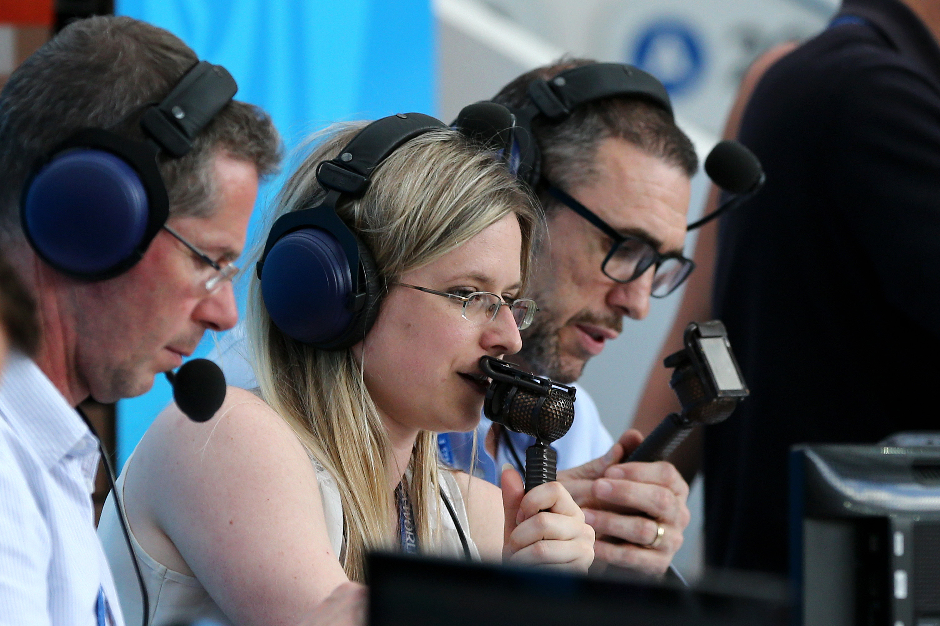 Vicki Sparks commentates for BBC during the 2018 FIFA World Cup Russia group B match between Portugal and Morocco at Luzhniki Stadium on June 20, 2018 in Moscow, Russia.
