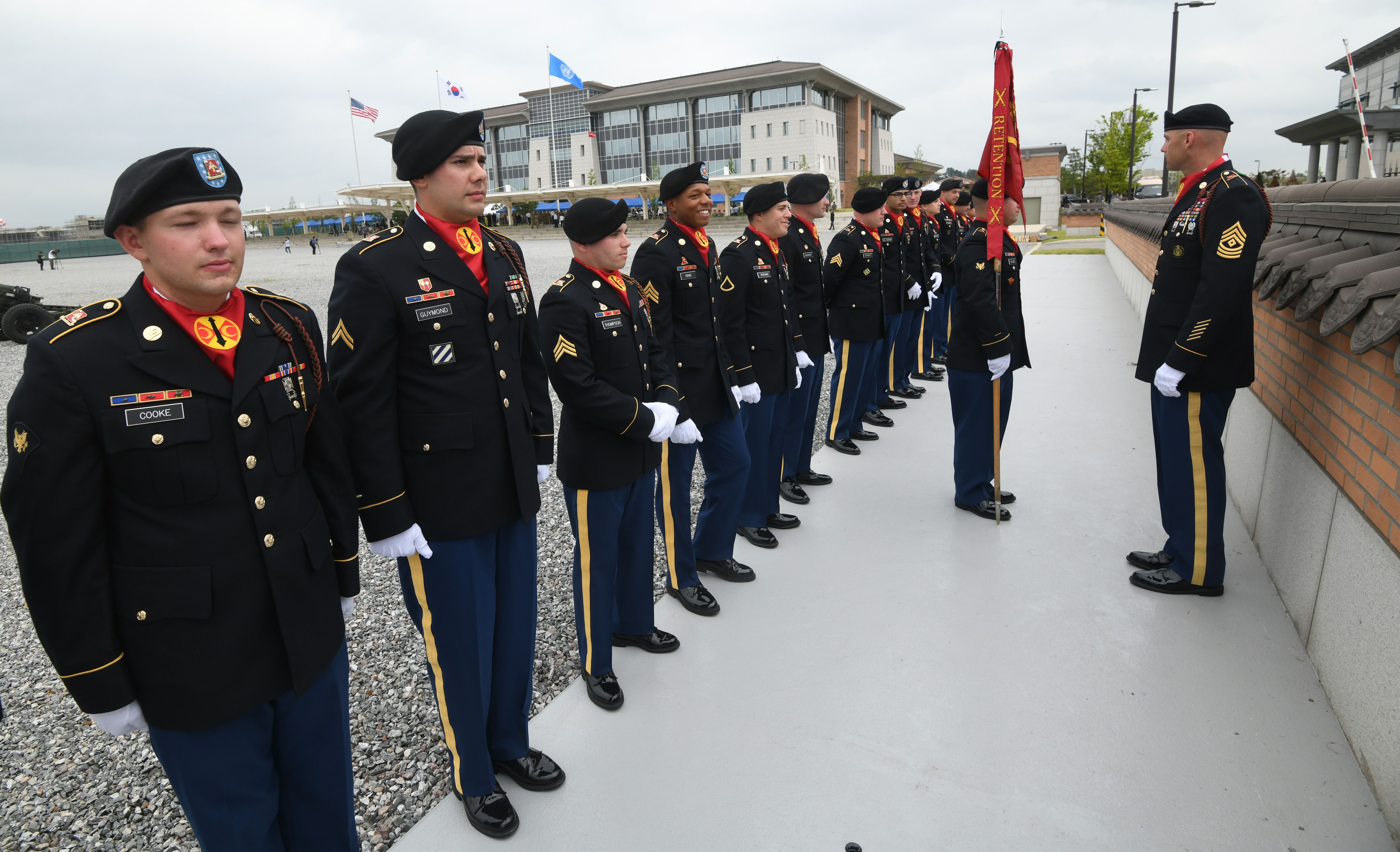US soldiers stand ahead of a grand opening ceremony of the new headquarters building for the United Nations Command and US Forces Korea at Camp Humphreys in Pyeongtaek on June 29, 2018.