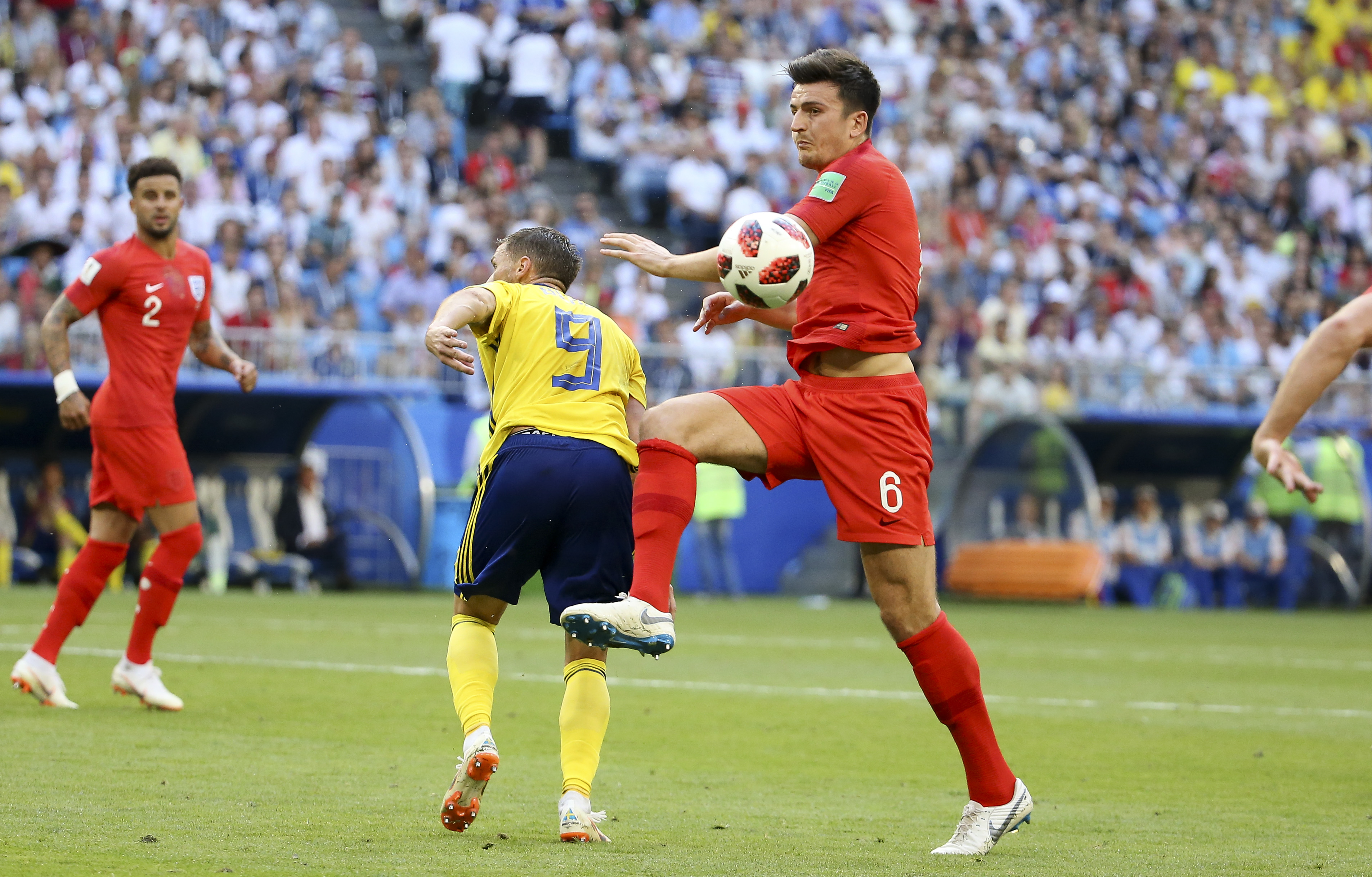 Harry Maguire of England during the 2018 FIFA World Cup Russia Quarter Final match between Sweden and England at Samara Arena on July 7, 2018 in Samara, Russia. (Photo by Jean Catuffe/Getty Images)