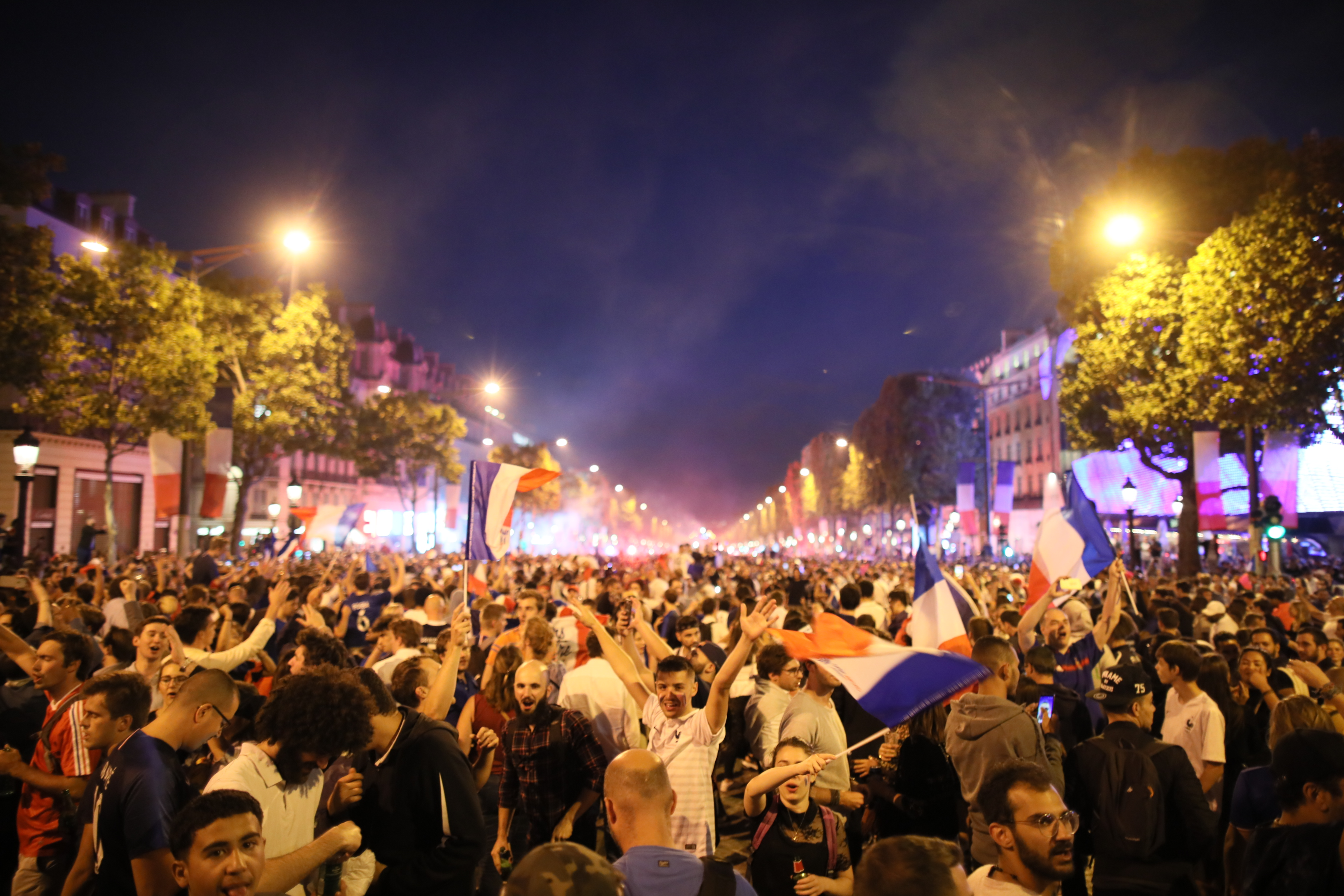 FIFAWorld Cup 2018, final round, semi-finals: France vs. Belgium. Fans celebrate on the Champs Elysee after the victory of the French team in the semi-final of the FIFA World Cup. Photo: Leo Novel/dpa (Photo by Leo Novel/picture alliance via Getty Images)
