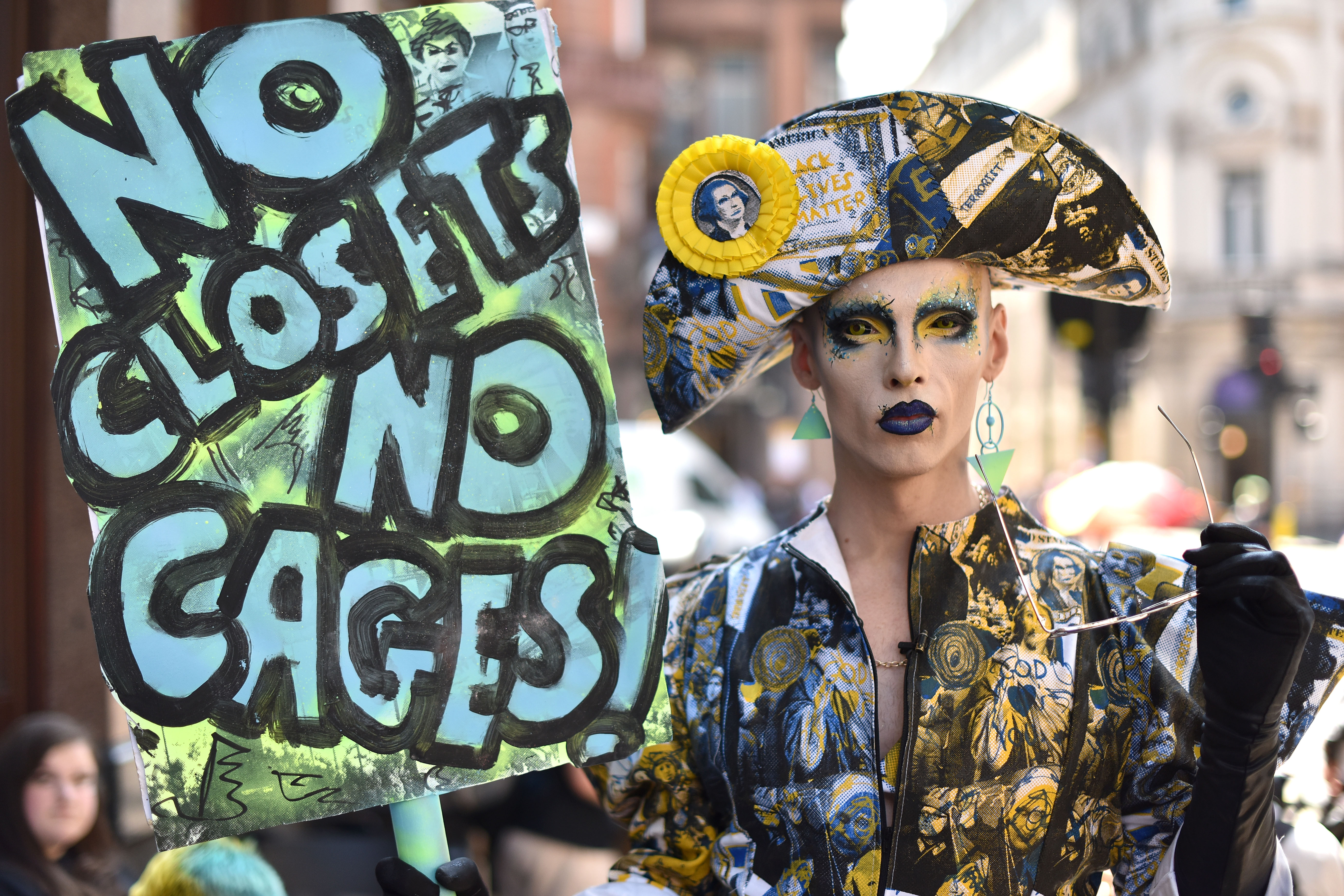 Drag Queen Cheddar Gorgeous attends the Drag Protest Parade LGBTQi+ March against Trump on July 13, 2018 in London, United Kingdom. Drag queens hold a mass rally in Central London against the Trump administration's record on LGBT rights including a ban on transgender personnel.
