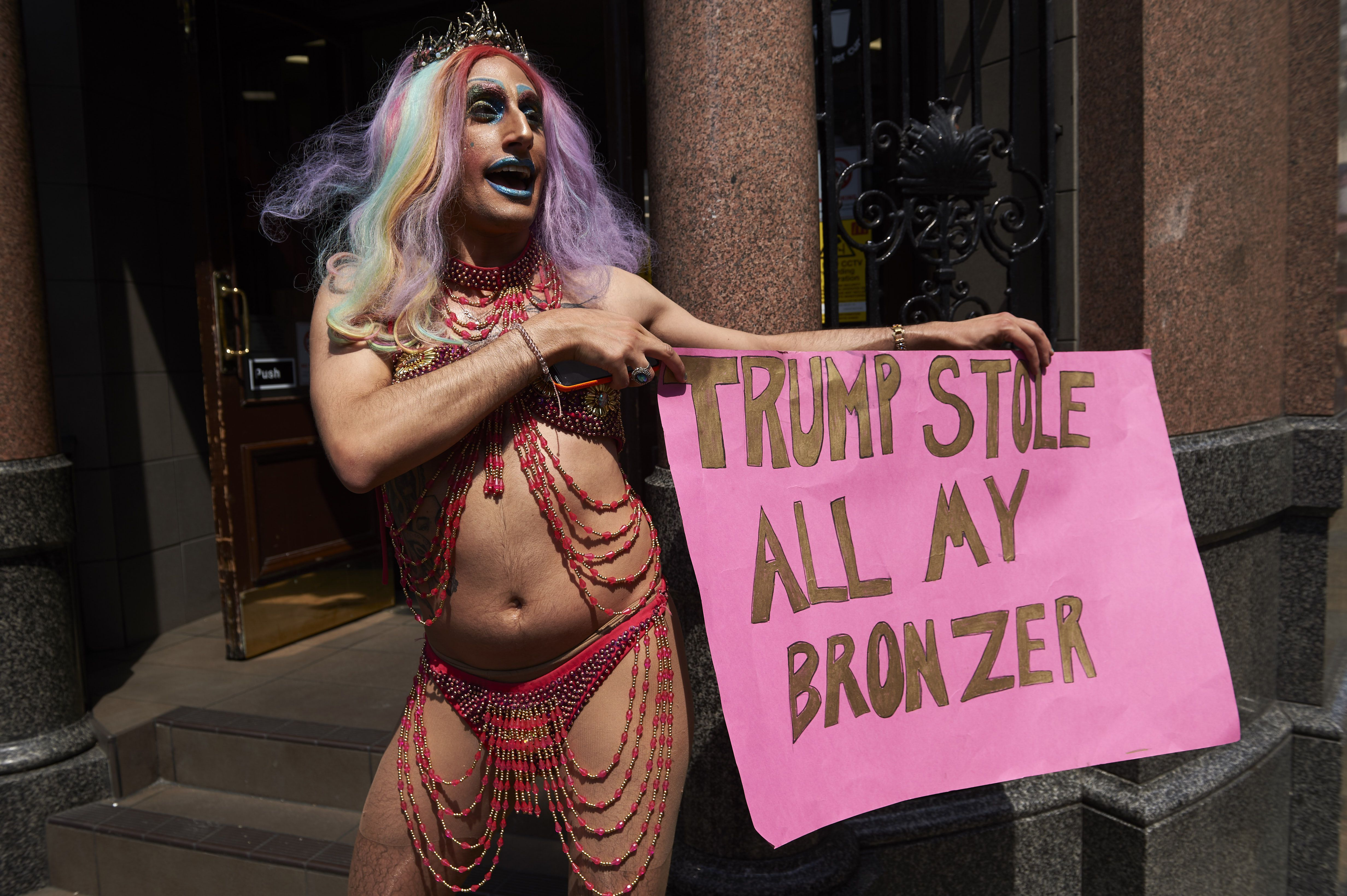 A drag queen joins protesters against the UK visit of US President Donald Trump as they gather to take part in a march and rally in London on July 13, 2018.