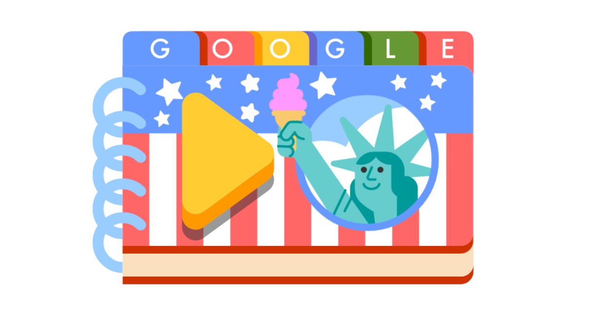 Google Doodle celebrating the Fourth of July.