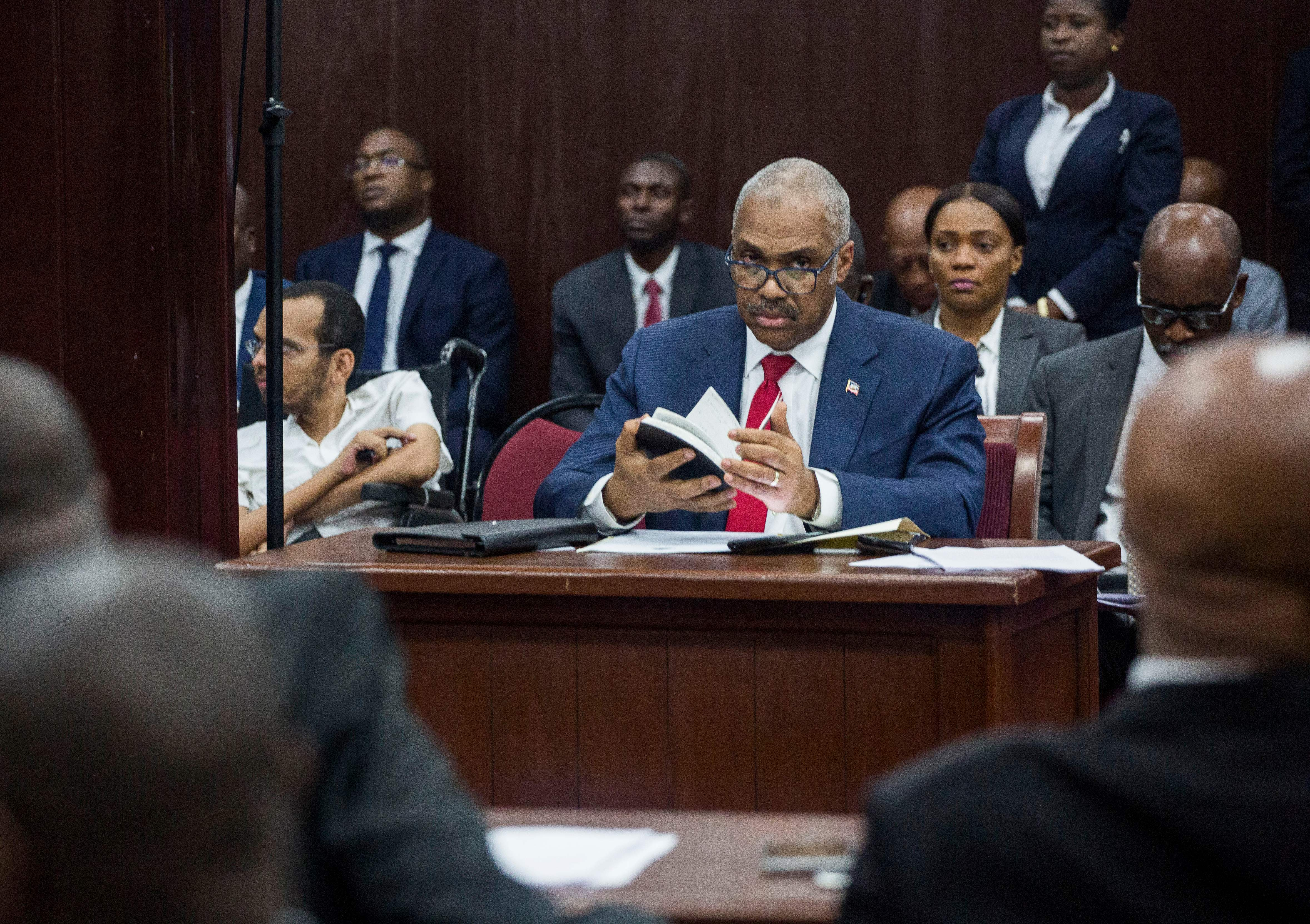 Prime Minister Jack Guy Lafontant in his place in Parliament for the interpellation session at the Chamber of Deputies in Port-au-Prince, Haiti, on July 14, 2018.