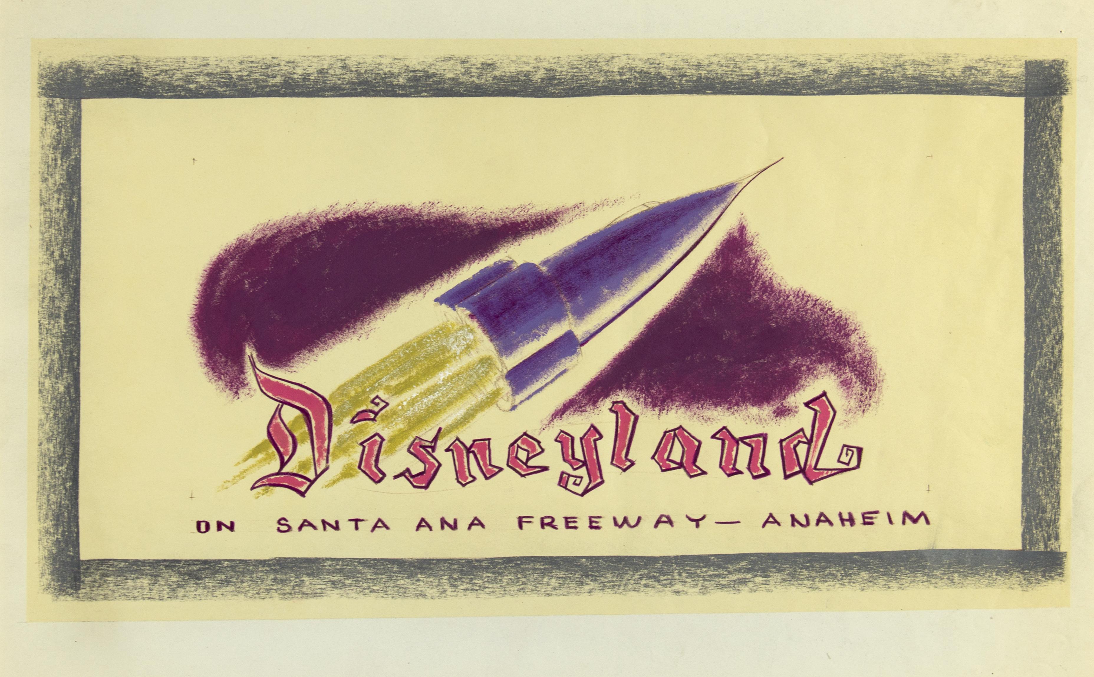 Hand-colored Disneyland billboard concept brownline, c. 1955.