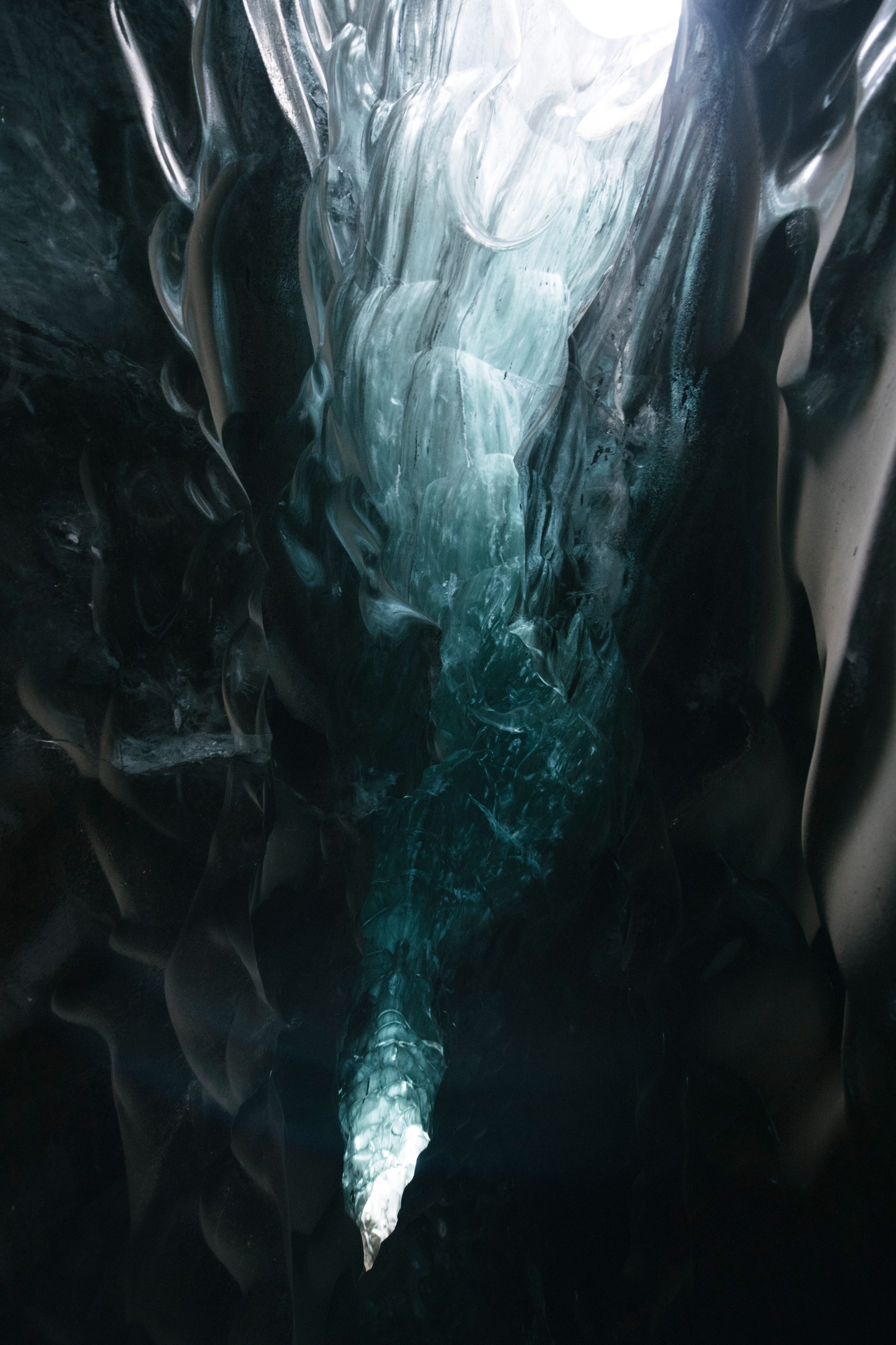 Ice cave skylight underneath Breiðamerkurjökull Glacier
