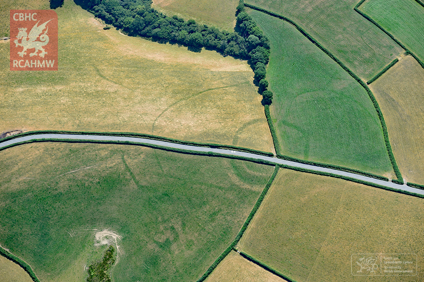 An Iron-age farmstead shows up beneath a road and fields in Wales