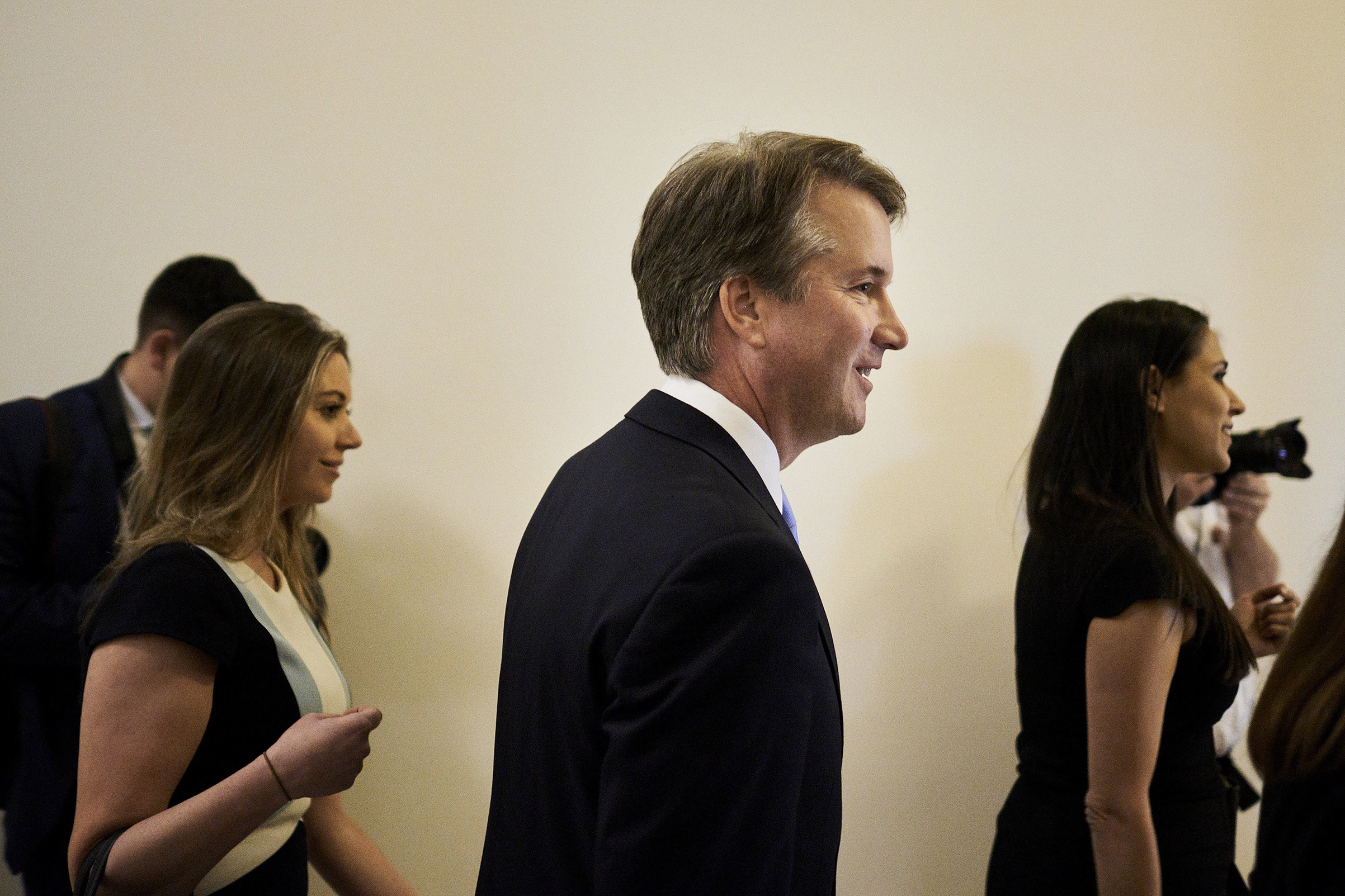Brett Kavanaugh arrives at the Russell Senate Office Building in Washington                    onJuly 12.