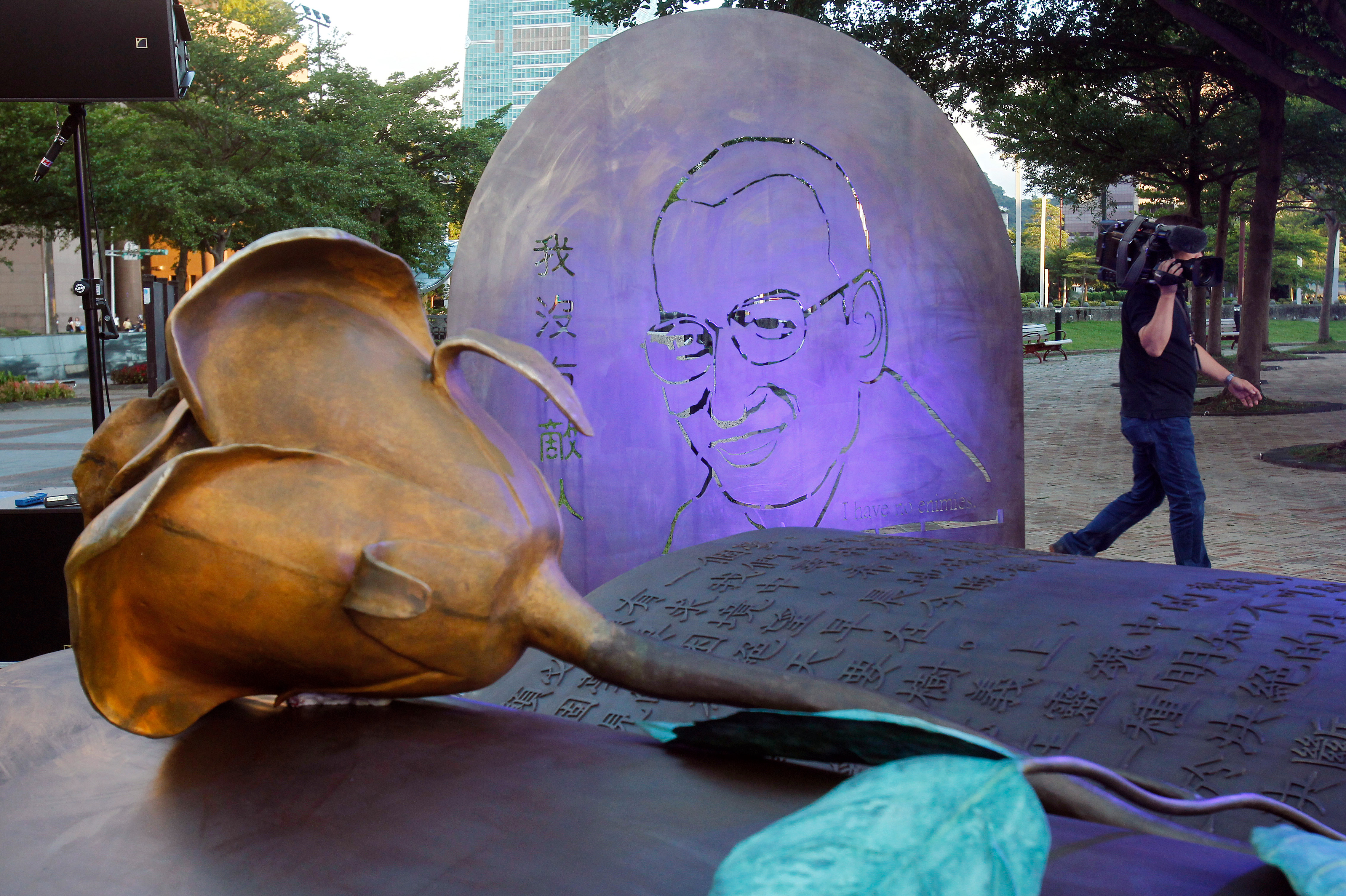 A sculpture of the Chinese Nobel peace prize recipient Liu Xiaobo who passed away one year ago can be seen outside City Hall on  July 13, 2018, in Taipei, Taiwan.