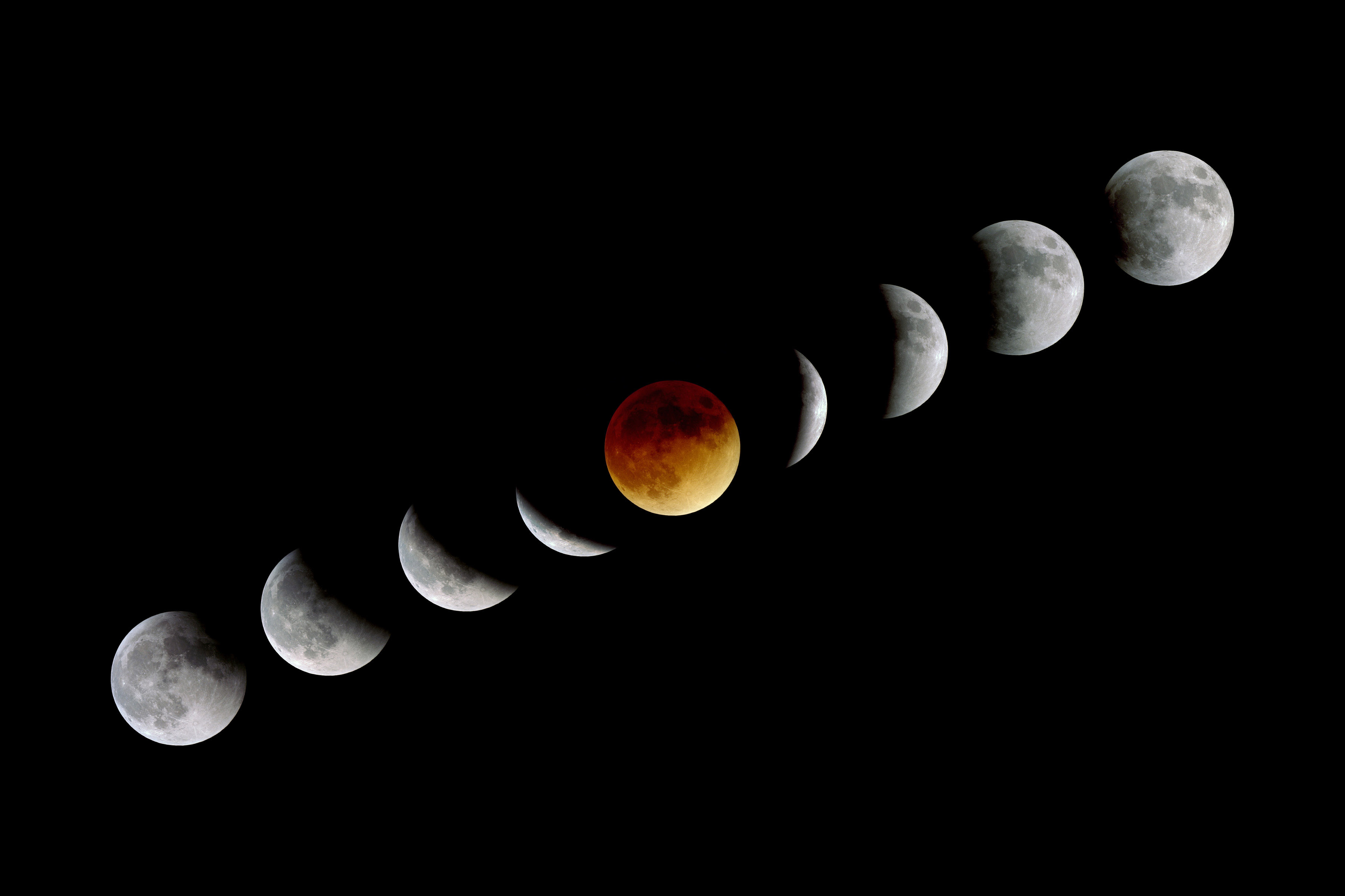 Montage of nine exposures taken during the total lunar eclipse of 21st January 2000.