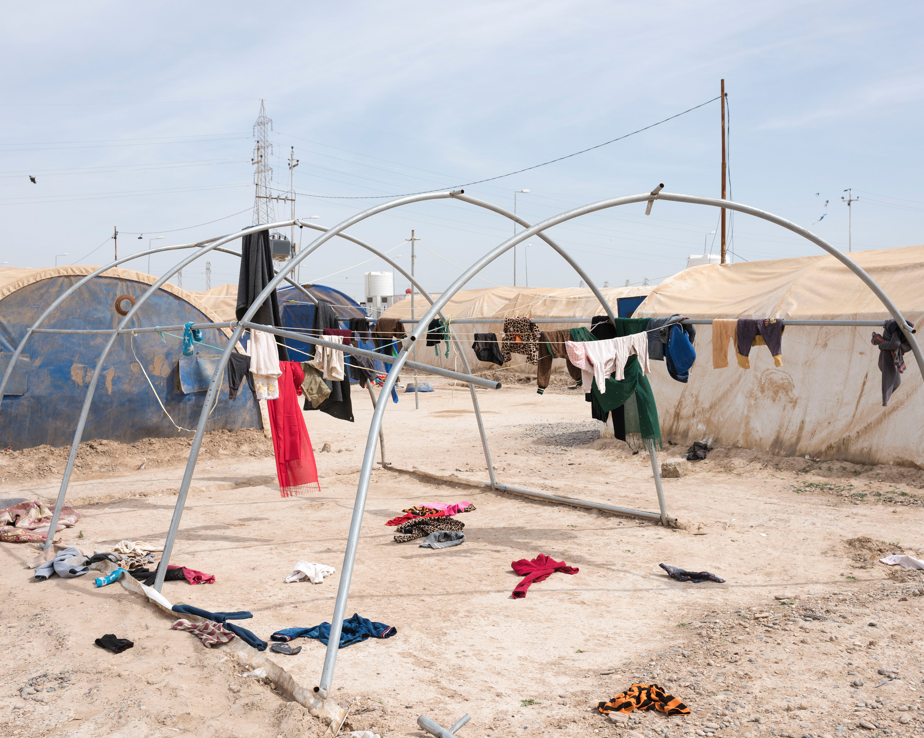 A refugee camp where relatives of ISIS fighters are detained in Iraq in April.