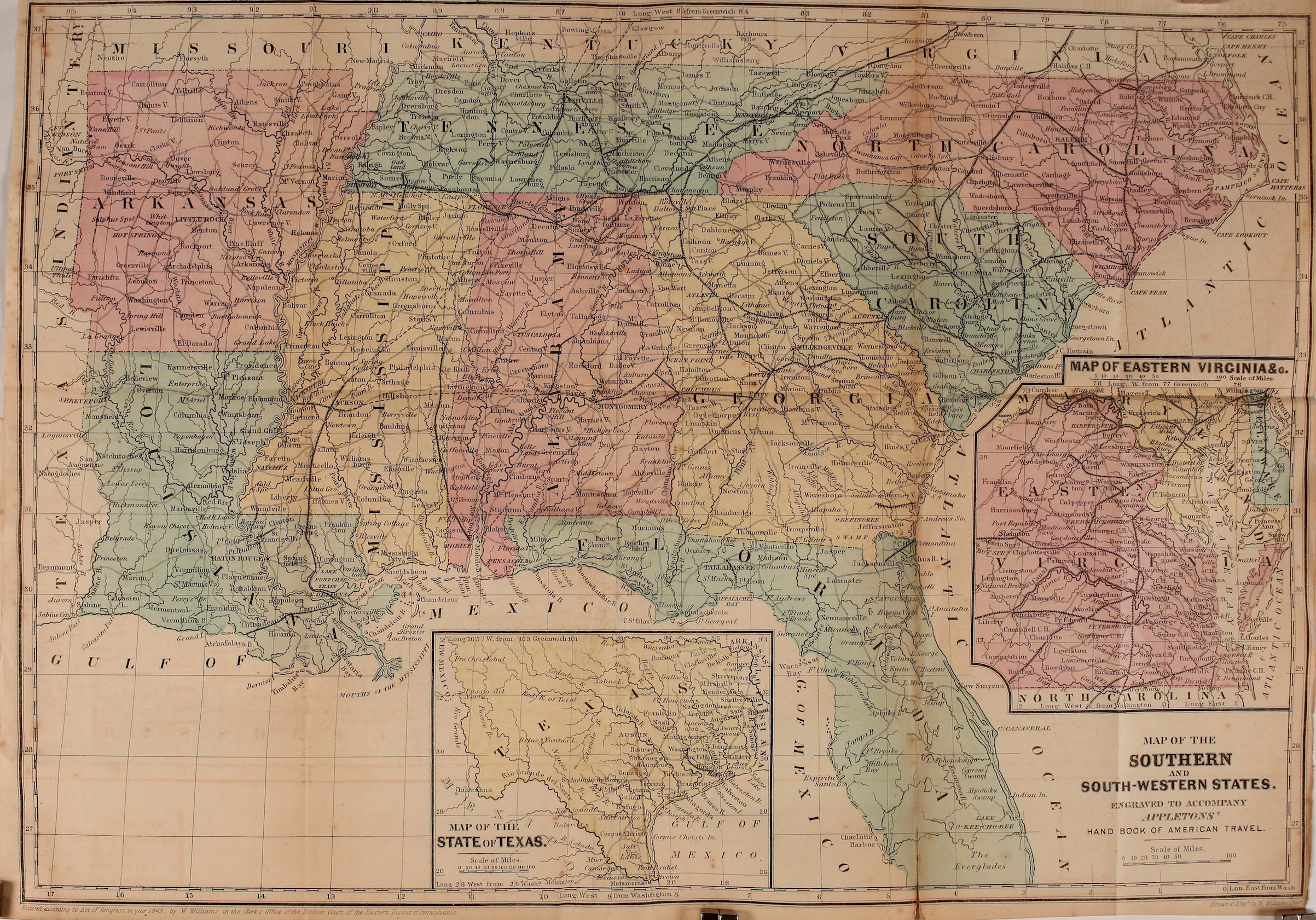 Color, political and physical map of the Southern and South-Western States, with insets illustrating Texas and the Eastern Virginias, 1857.