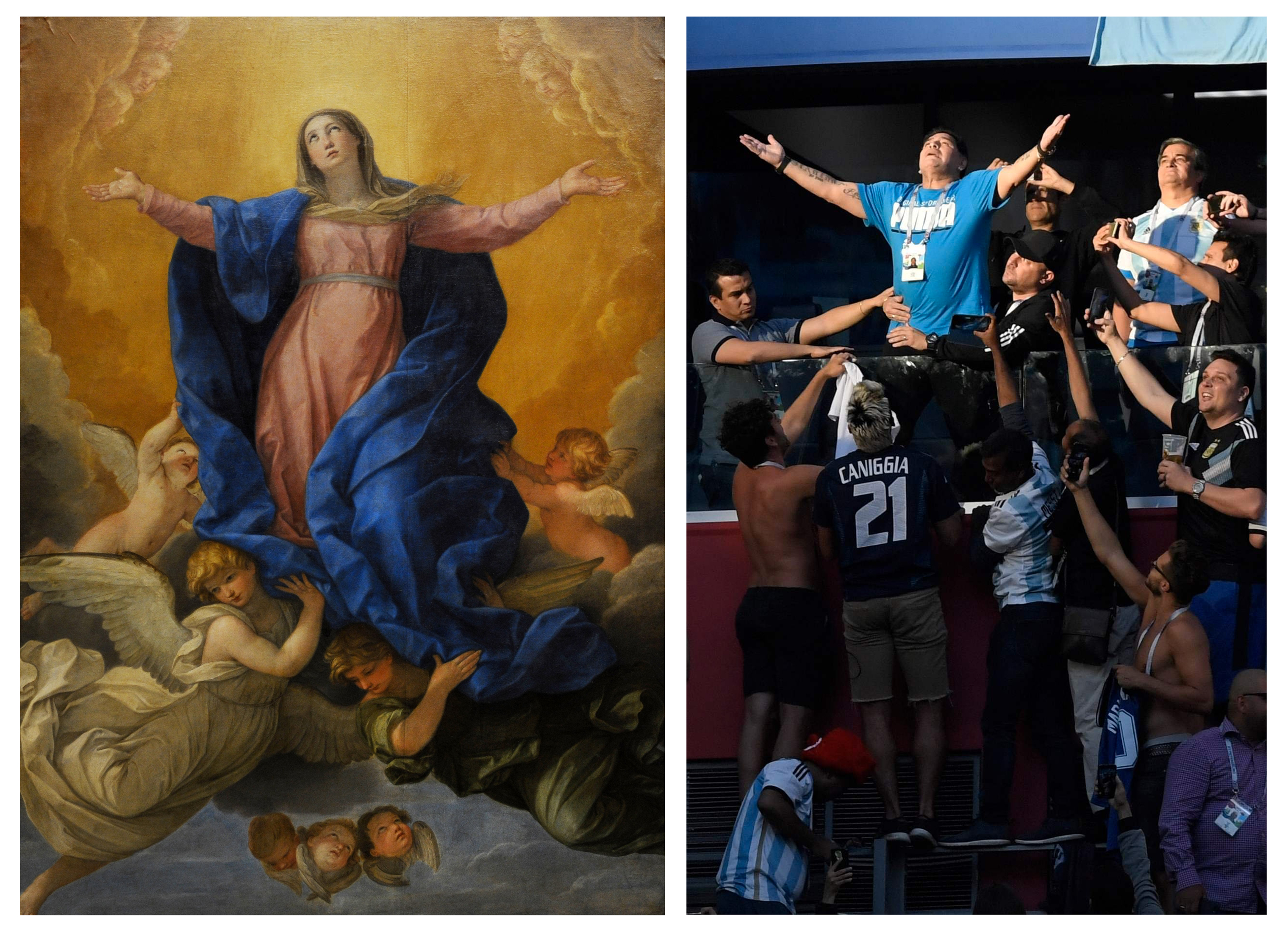 The Assumption of the Virgin Mary painting by Guido Reni ; Argentinian soccer star Diego Maradona