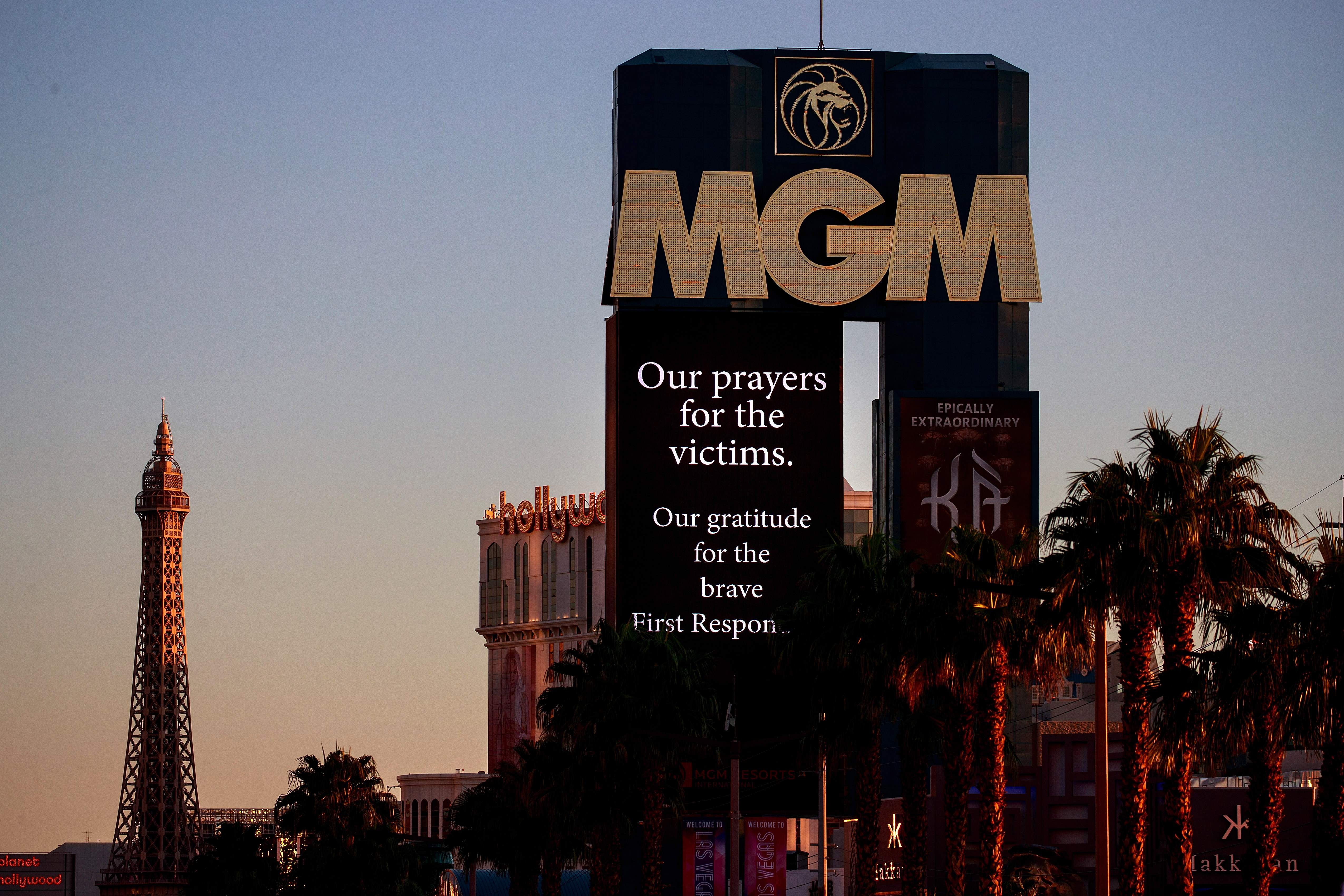 A message of condolences for the victims of Sunday night's mass shooting is displayed on the marquee of the MGM Grand Hotel & Casino, October 3, 2017 in Las Vegas, Nevada.