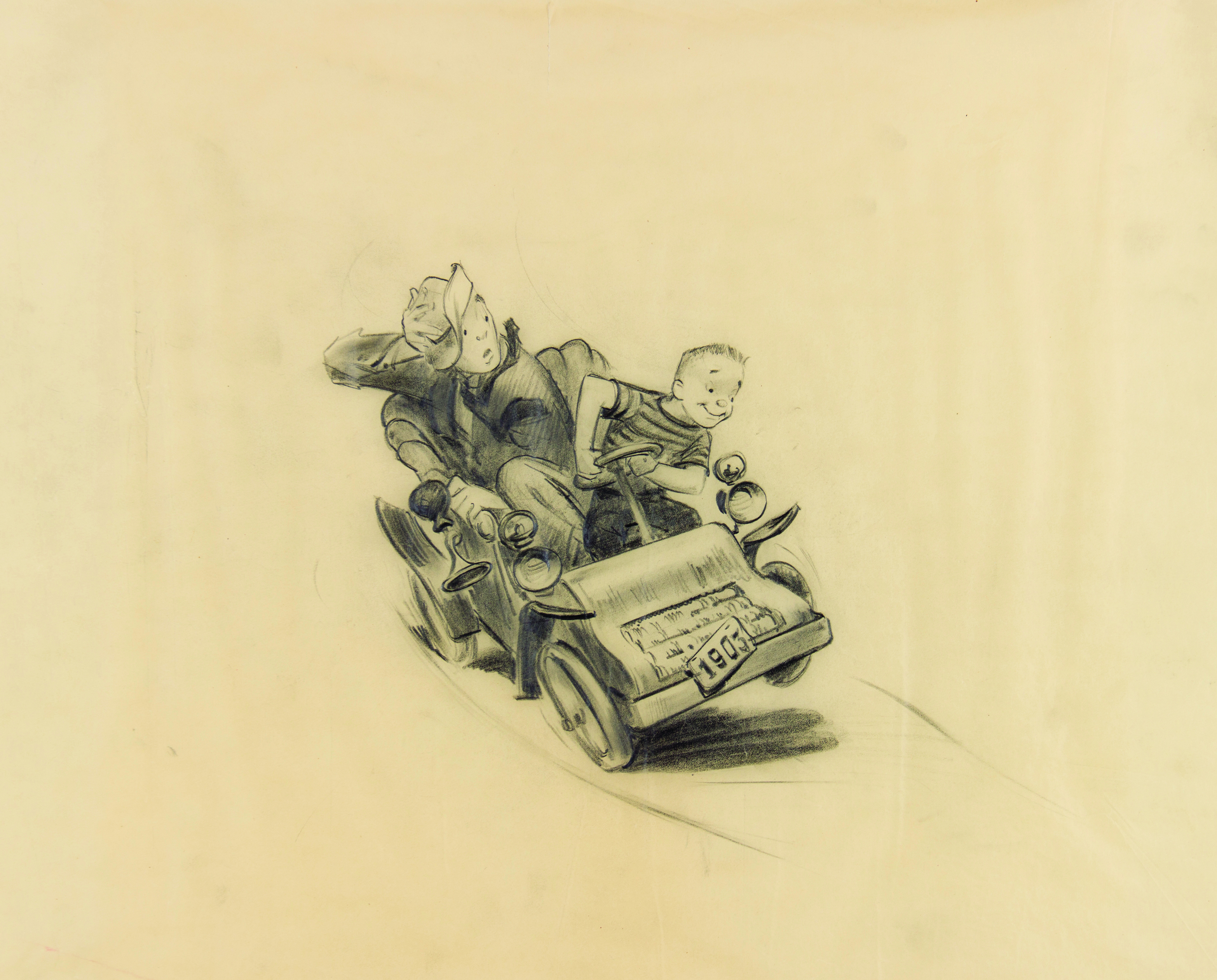 Mr Toad's Wild Ride Vehicle concept drawing, ca. 1954, by Imagineer Bruce Bushman