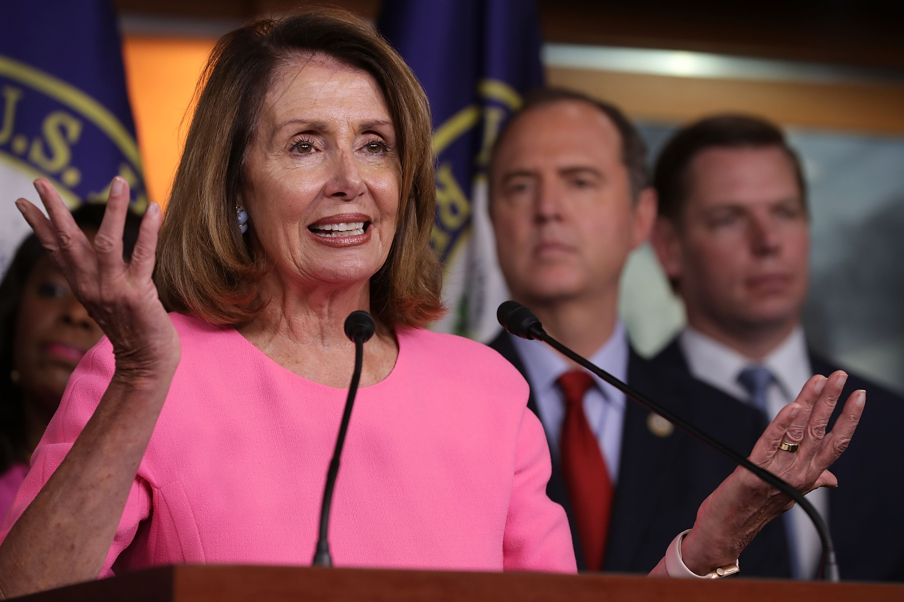 House Minority Leader Nancy Pelosi speaks during a news conference with Democratic members of the House Intelligence Committee on July 17, 2018.